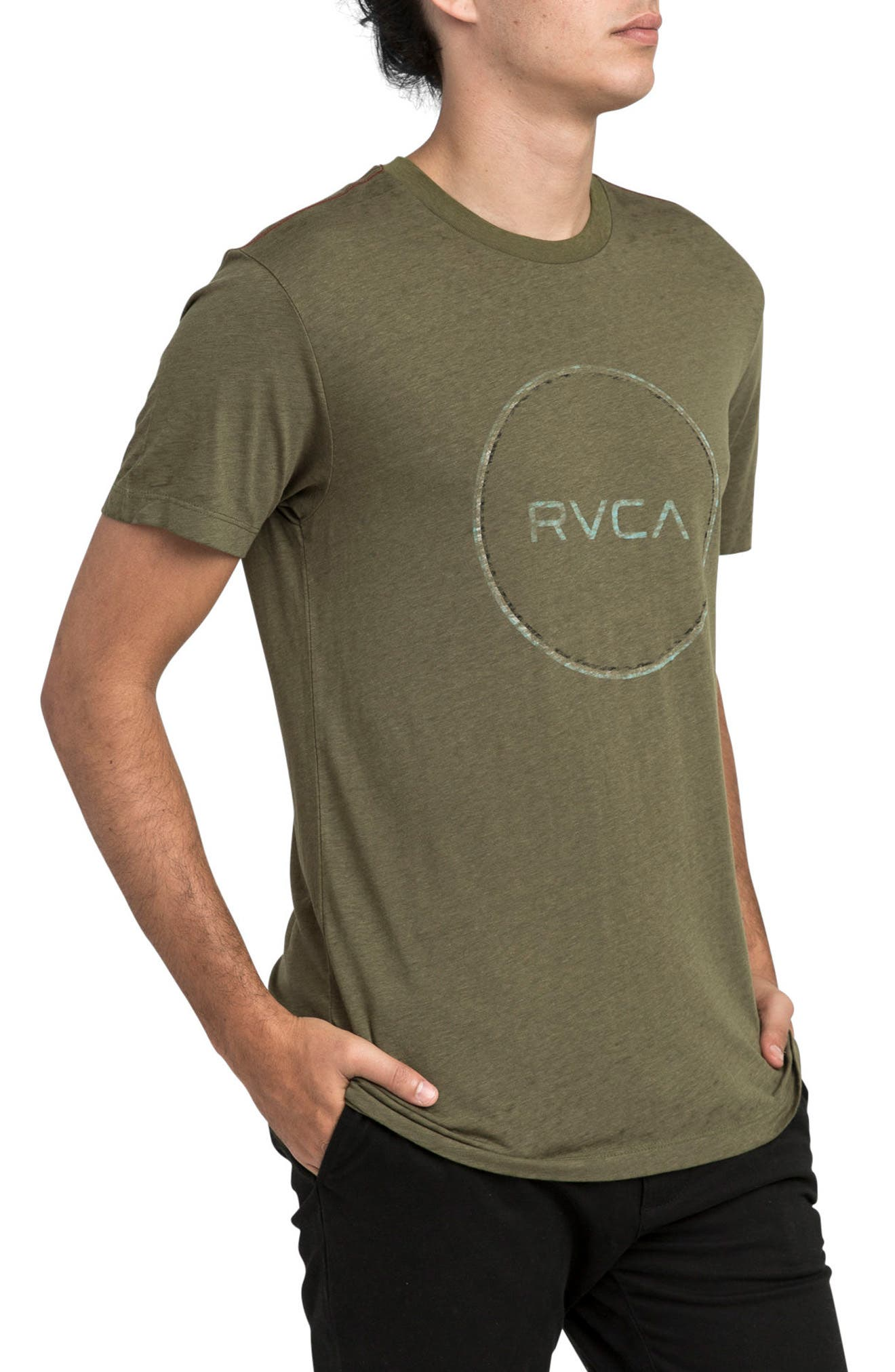 Tri Motors Burnout Graphic T-Shirt,                             Alternate thumbnail 3, color,                             Burnt Olive