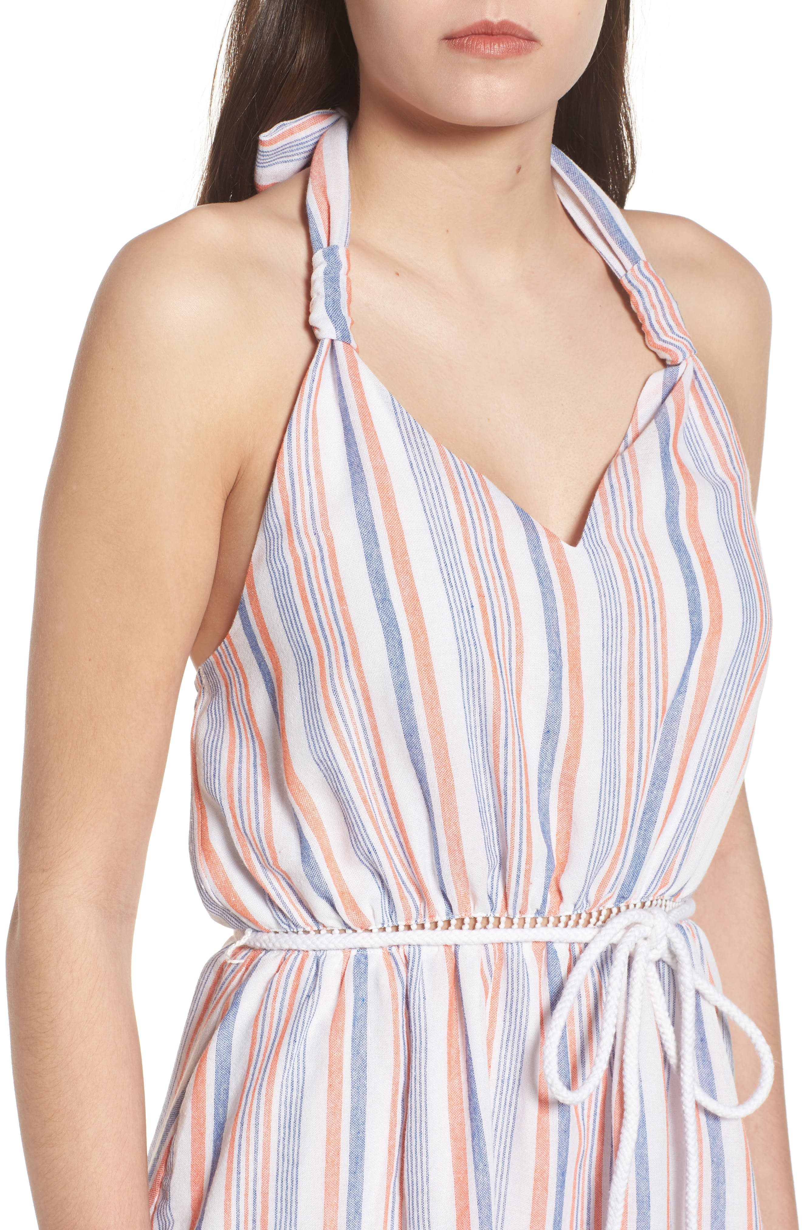 Stripe Halter Dress,                             Alternate thumbnail 5, color,                             Coral Stripe