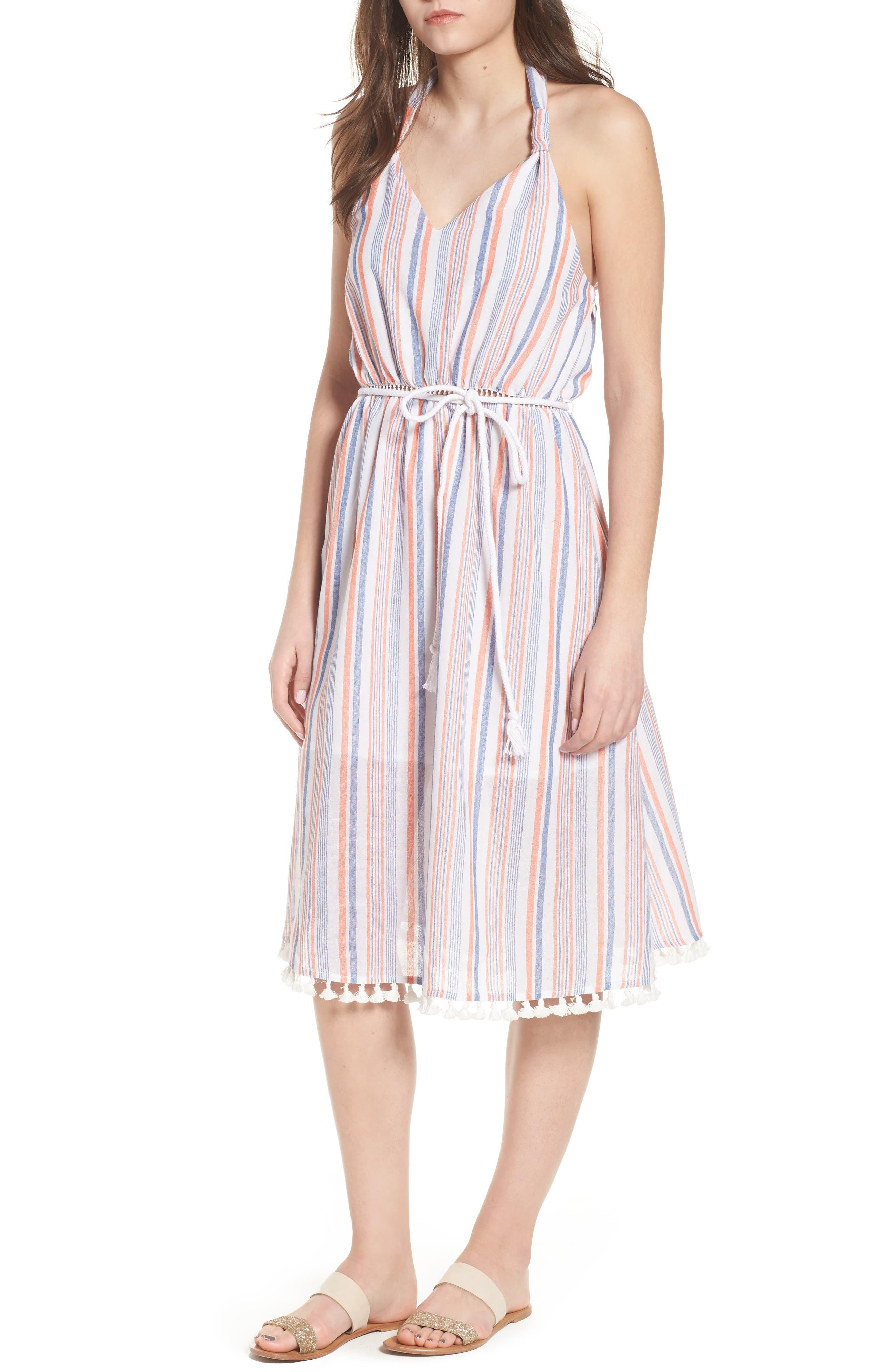 Stripe Halter Dress,                         Main,                         color, Coral Stripe