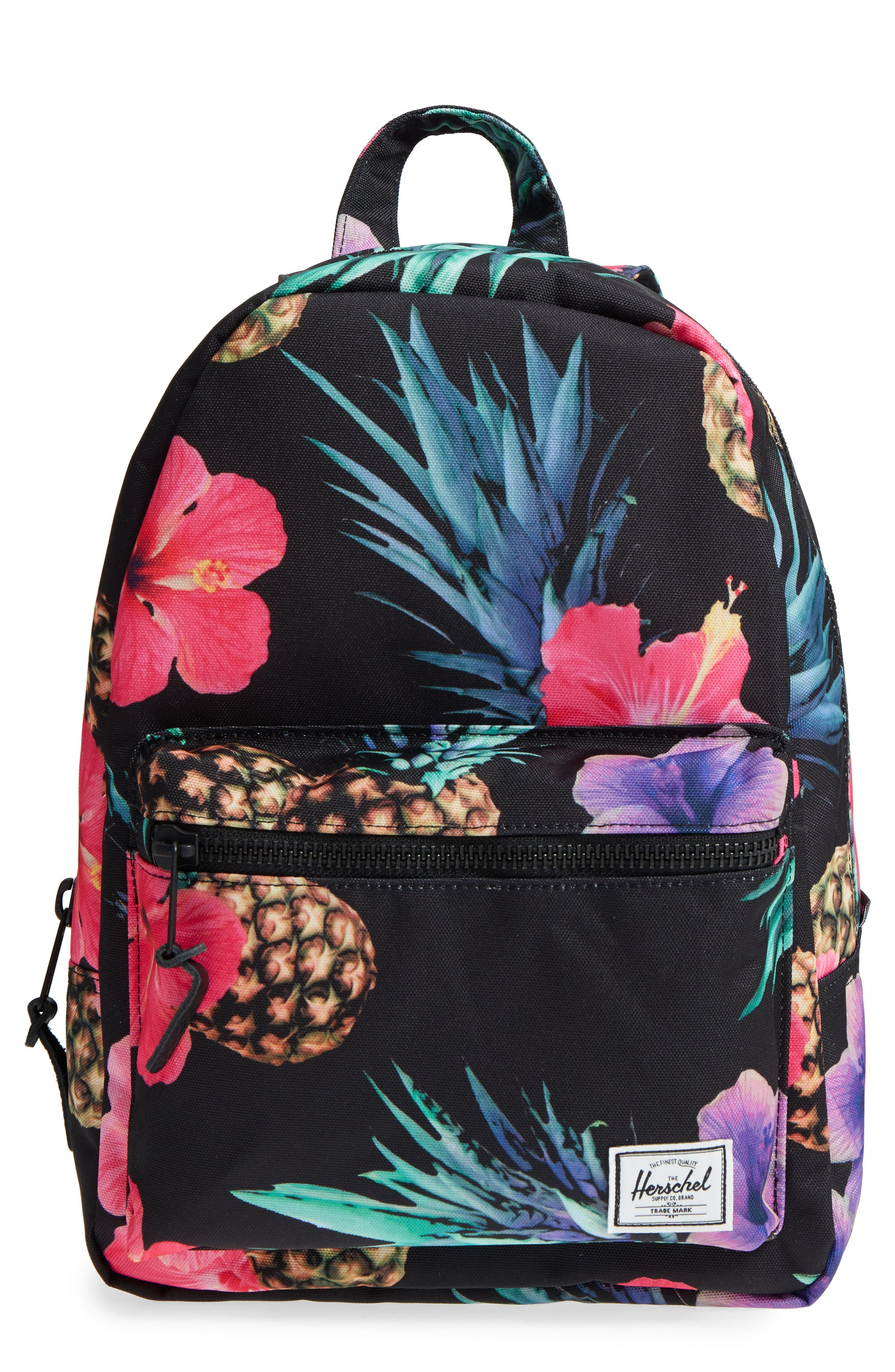 X-Small Grove Canvas Backpack,                             Main thumbnail 1, color,                             Black Pineapple