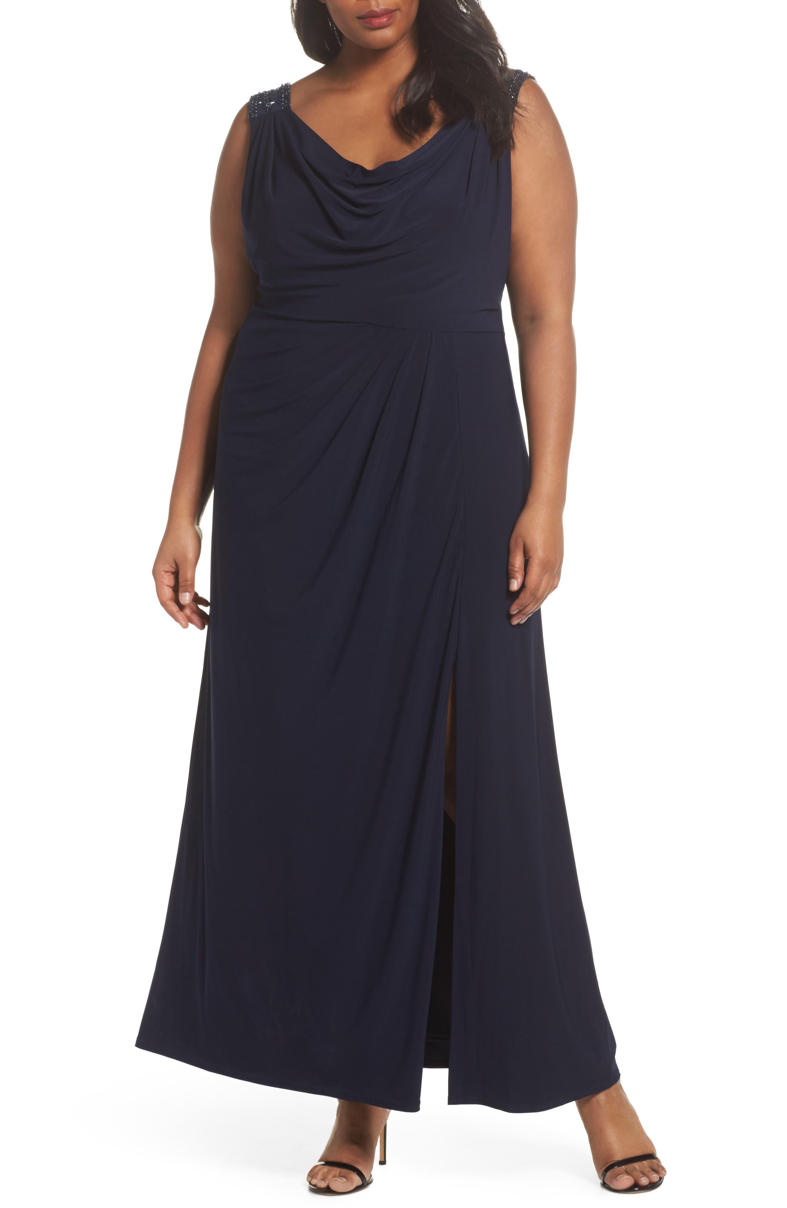 Cowl Neck A-Line Dress,                             Main thumbnail 1, color,                             Navy