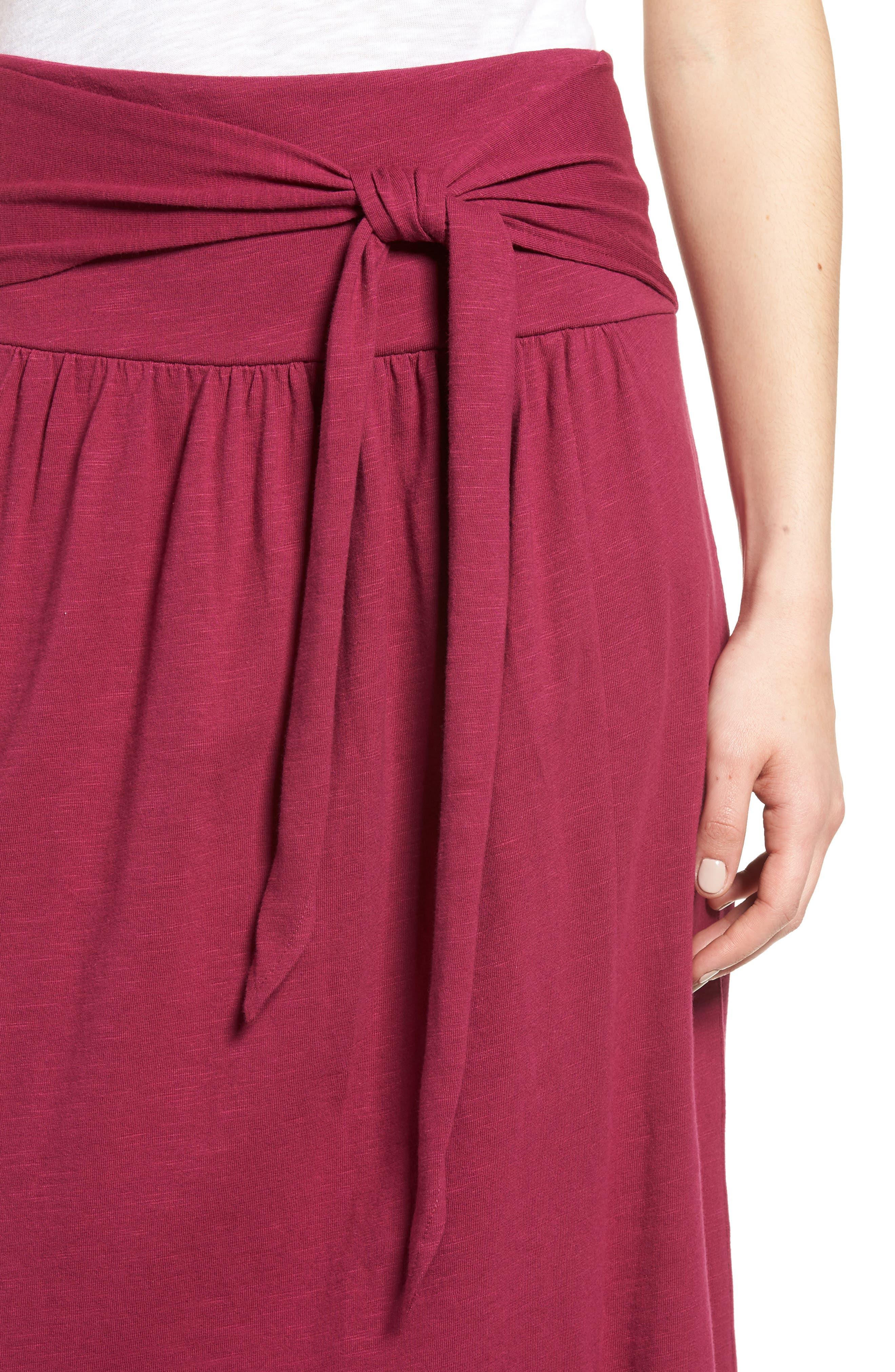Tie Front Cotton Maxi Skirt,                             Alternate thumbnail 4, color,                             Purple Fuchsia