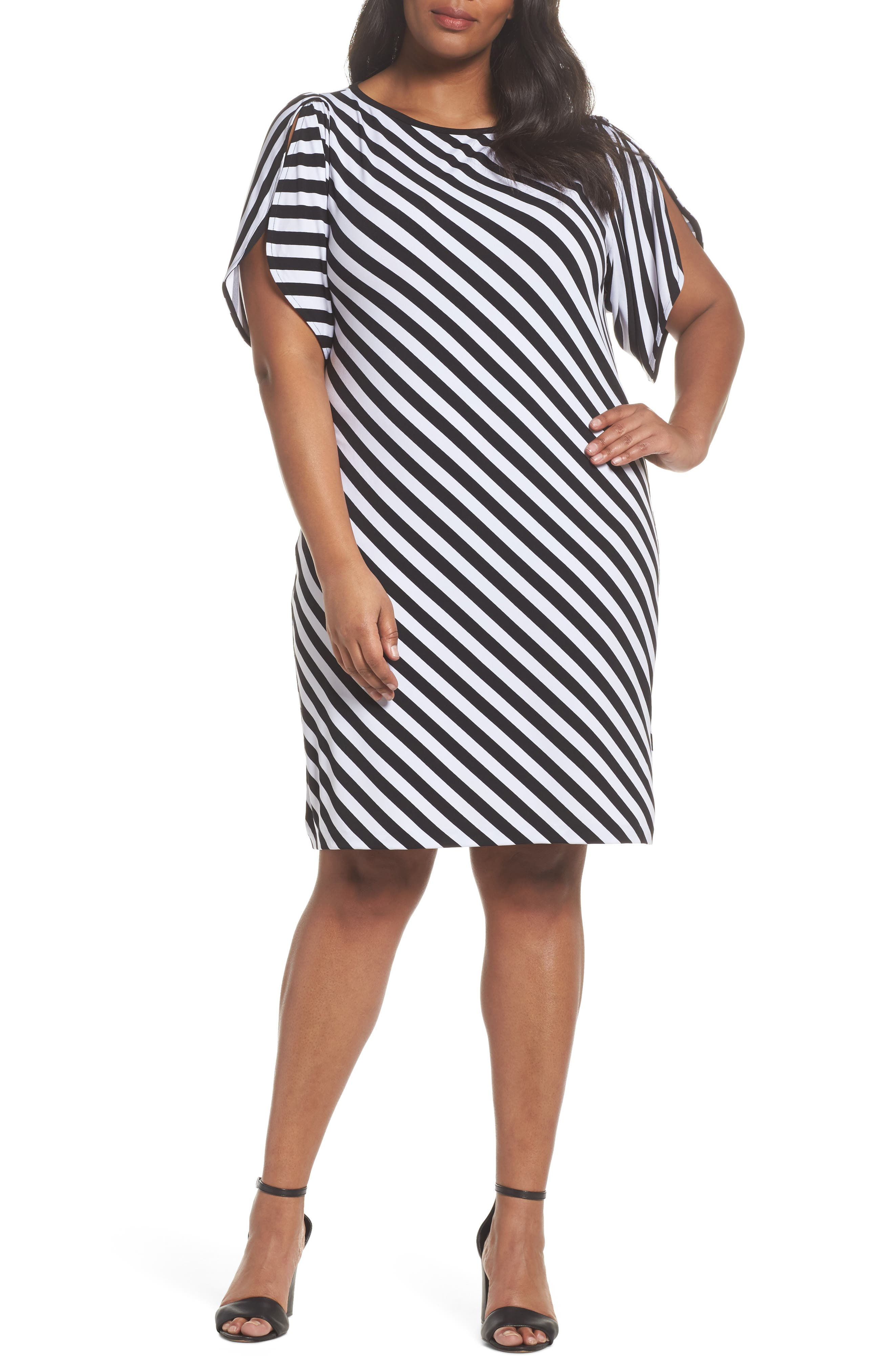 MICHAEL Michael Kors Tulip Sleeve Stripe Dress (Plus Size)