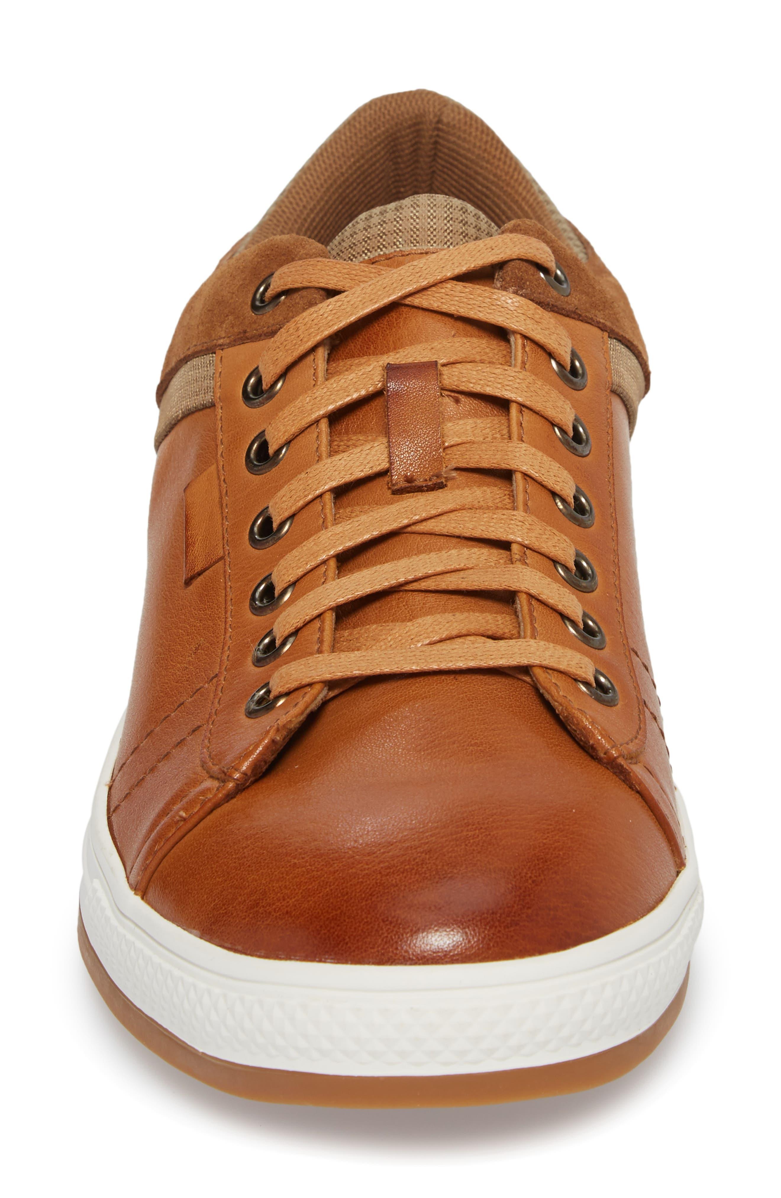 Ireton Low Top Sneaker,                             Alternate thumbnail 4, color,                             Cognac Leather/ Suede