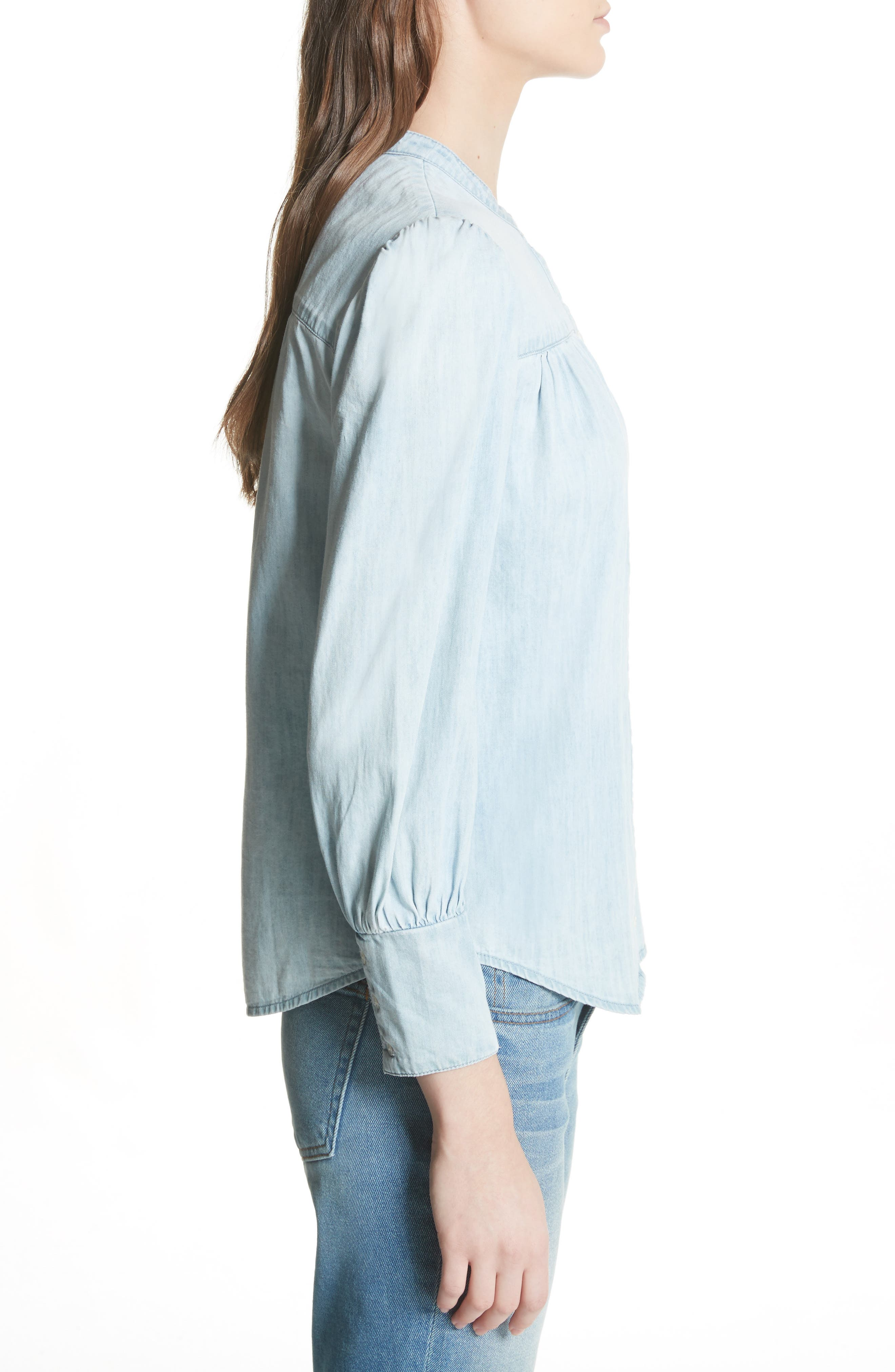 Aubrielle Silk Cotton Chambray Top,                             Alternate thumbnail 3, color,                             Western Fade