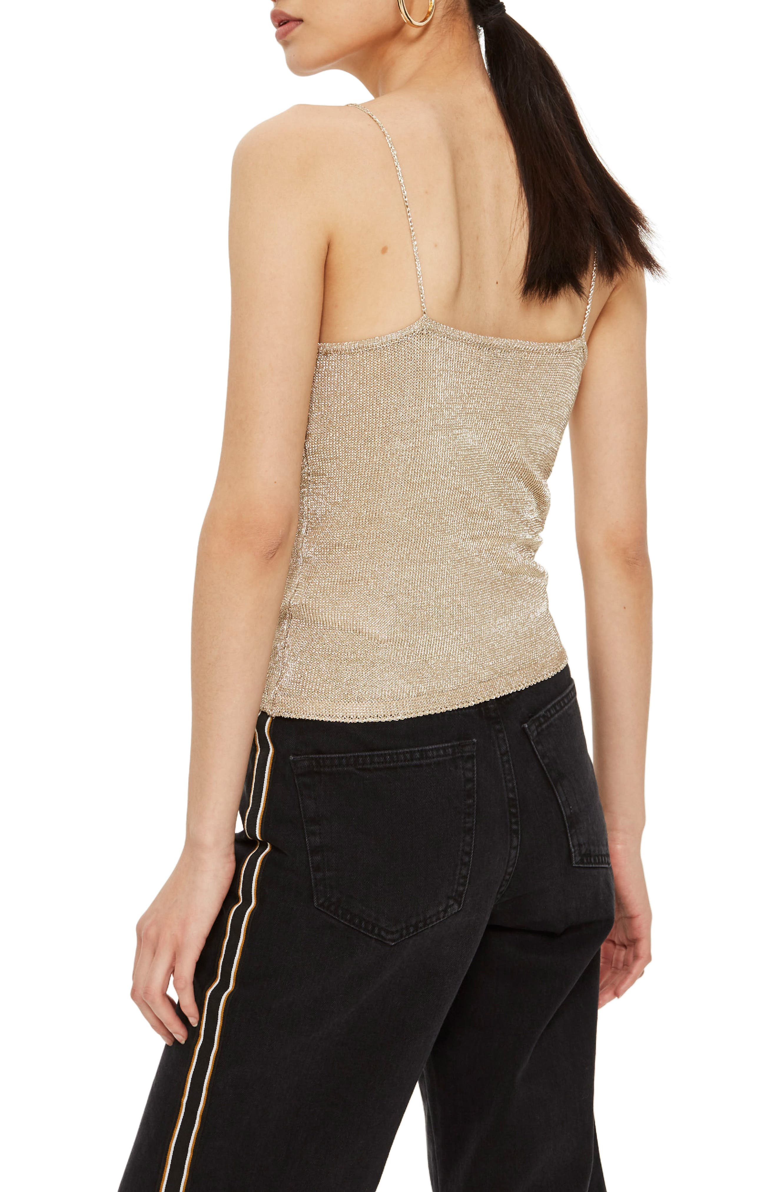 Metal Yarn Cowl Camisole,                             Alternate thumbnail 3, color,                             Gold