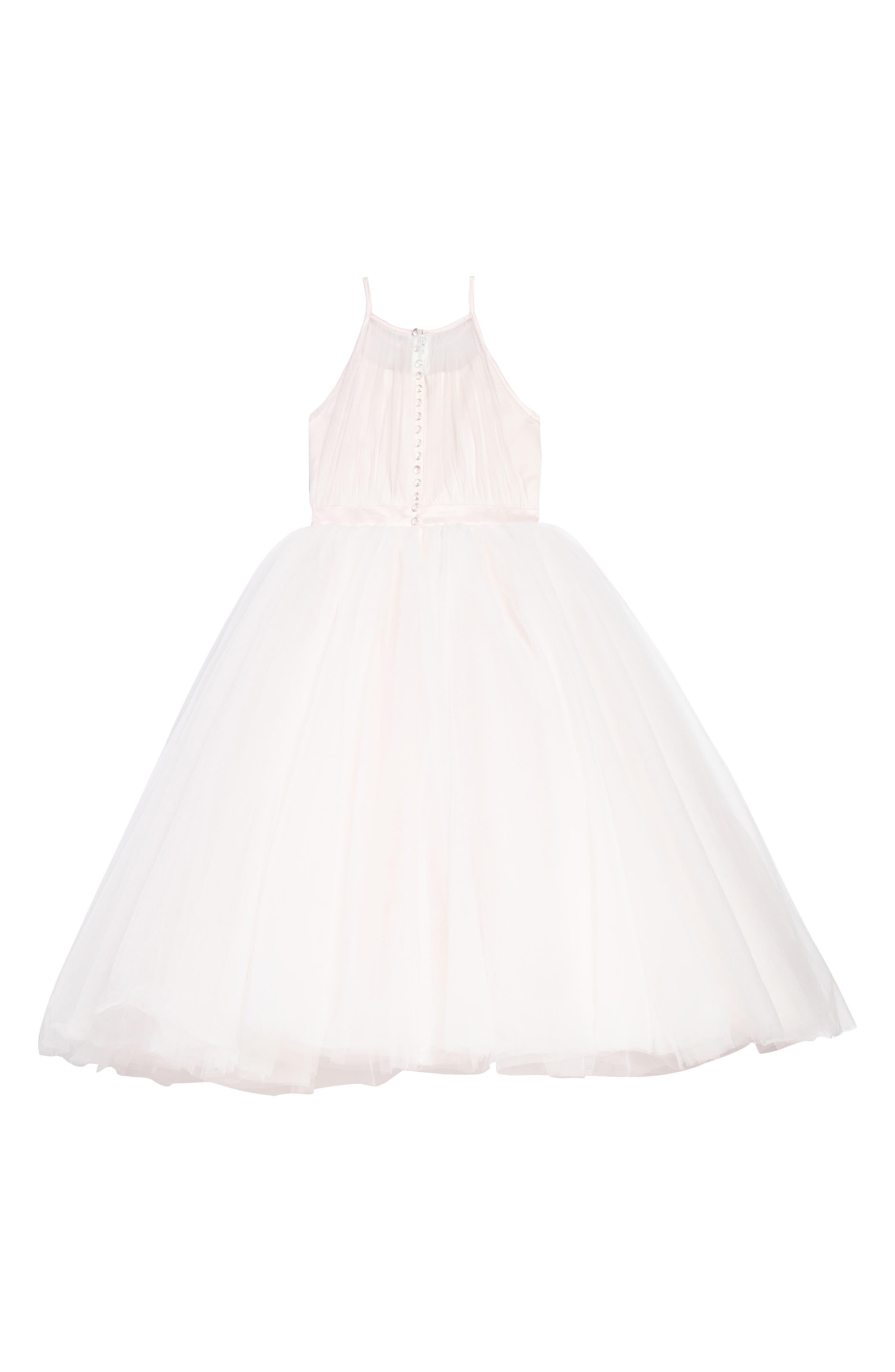Satin & Tulle Mock Halter Dress,                             Alternate thumbnail 2, color,                             Ivory/ Light Pink