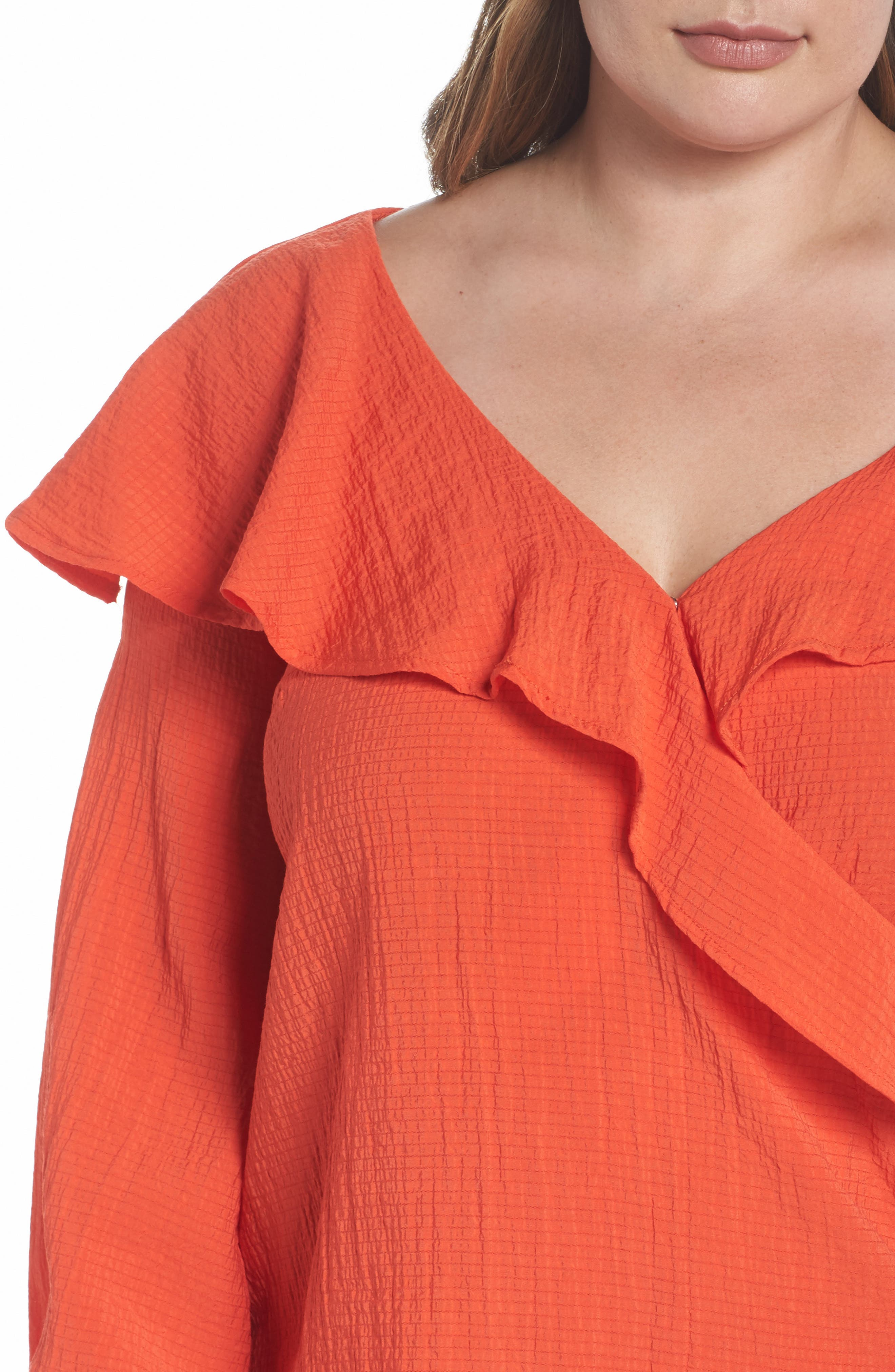 The Rose Ruffle Blouse,                             Alternate thumbnail 4, color,                             Red