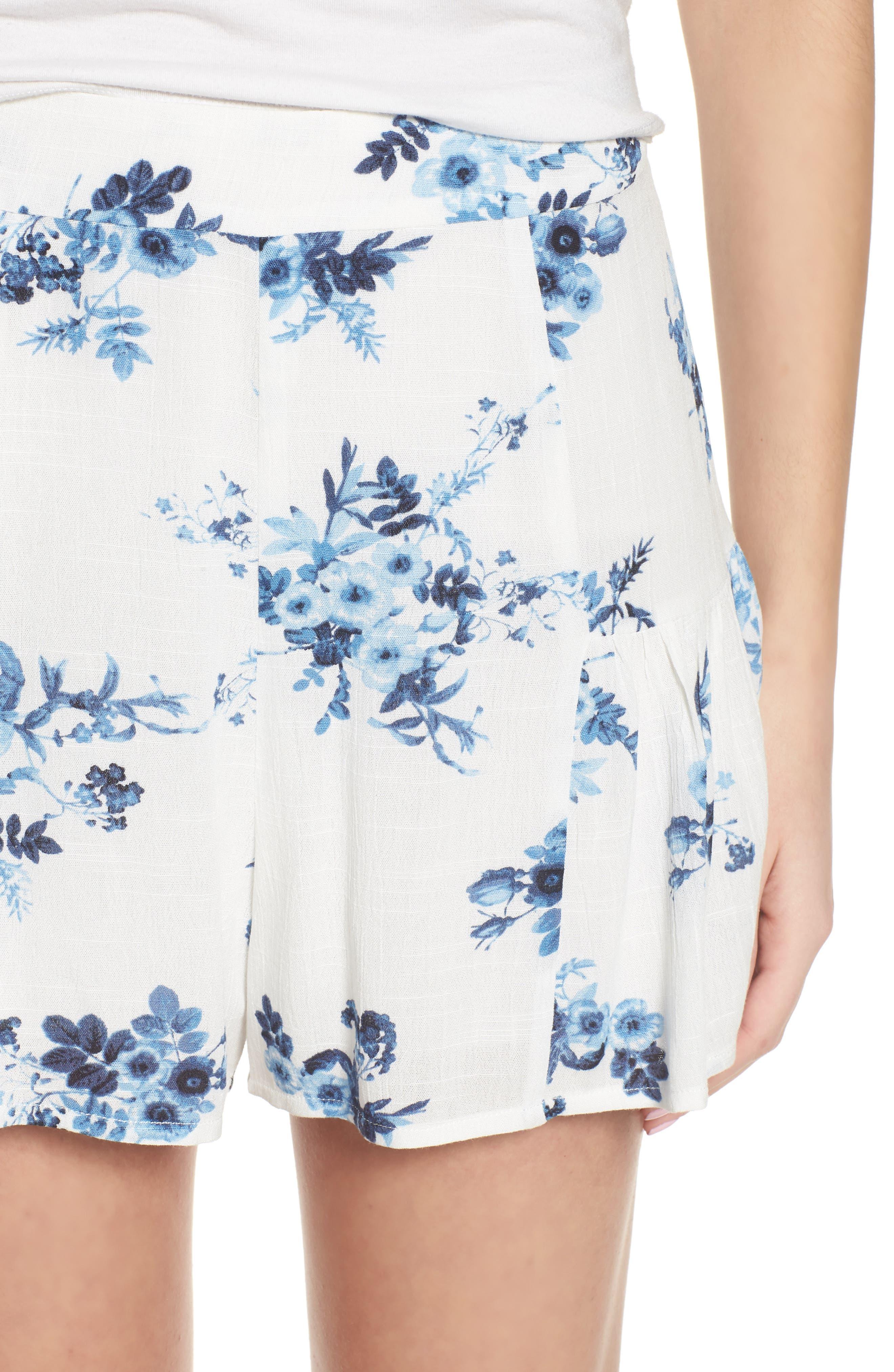 Floral Ruffle Hem Shorts,                             Alternate thumbnail 6, color,                             Indigo Floral