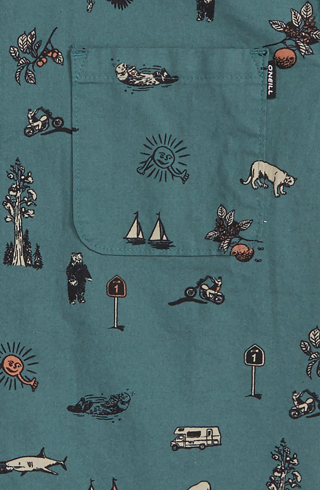 Squawker Woven Shirt,                             Alternate thumbnail 2, color,                             Pine