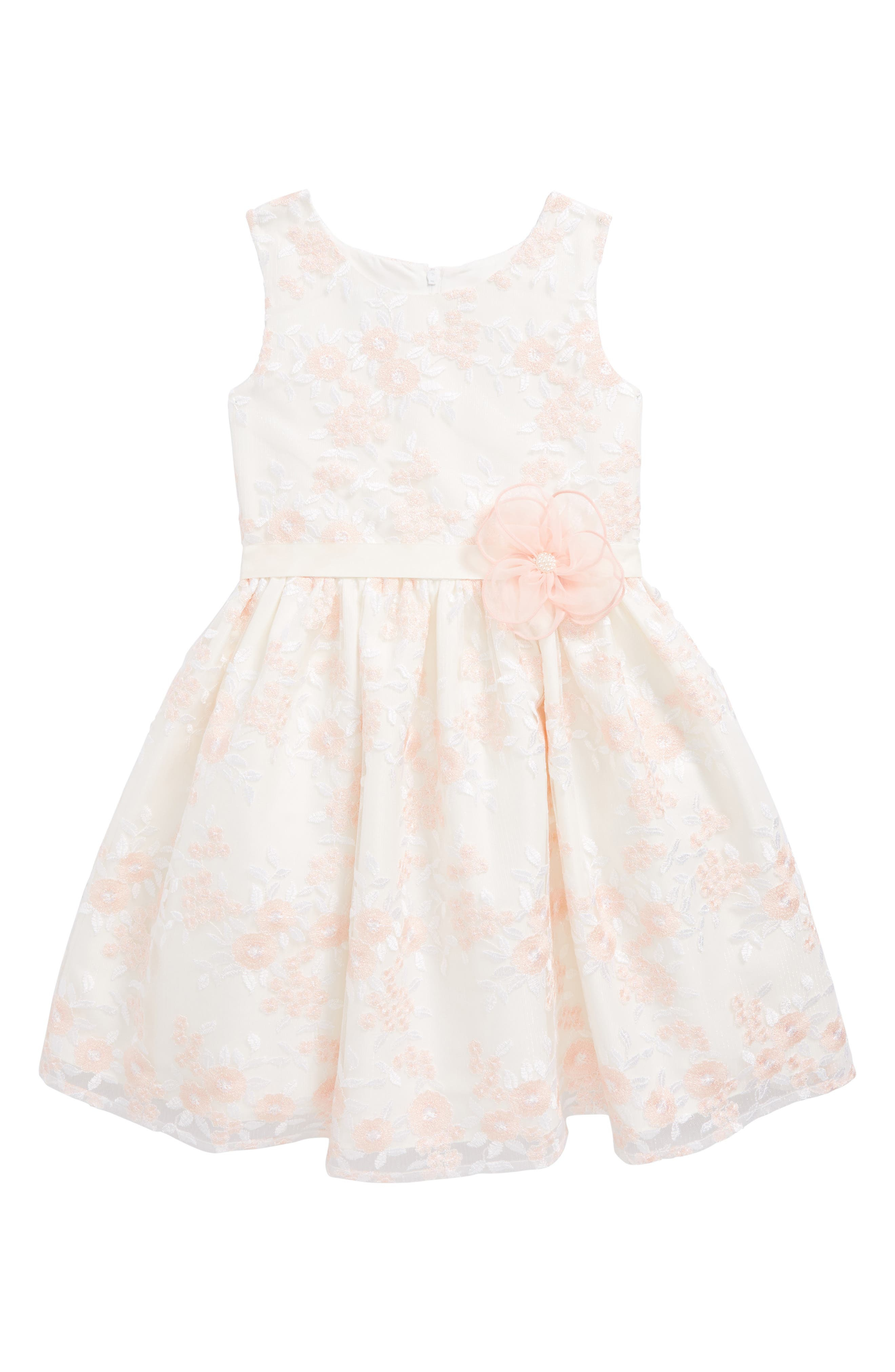 Embroidered Tulle Dress,                         Main,                         color, White/ Pink