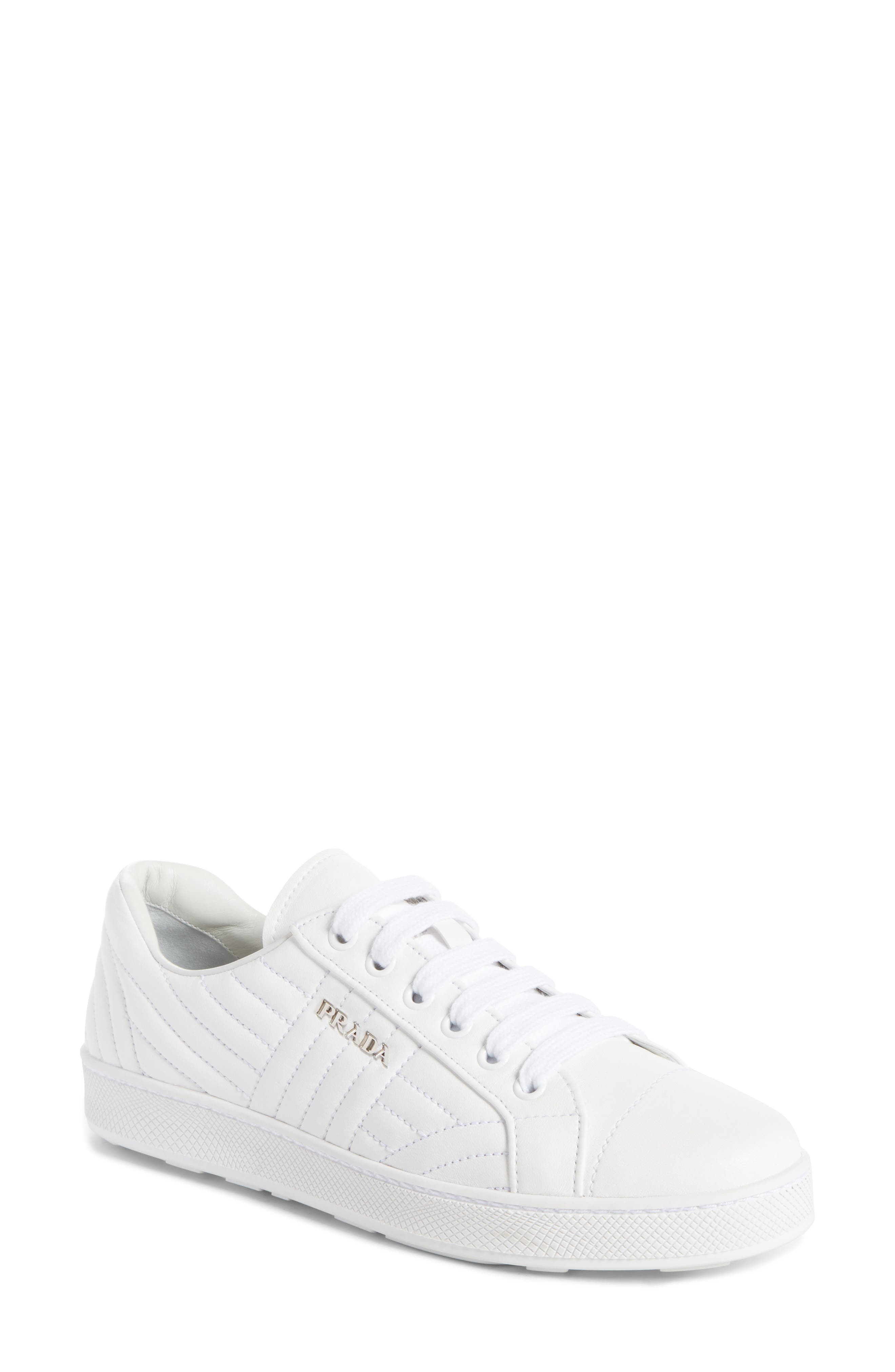 Prada Quilted Leather Sneaker (Women). PINK; WHITE