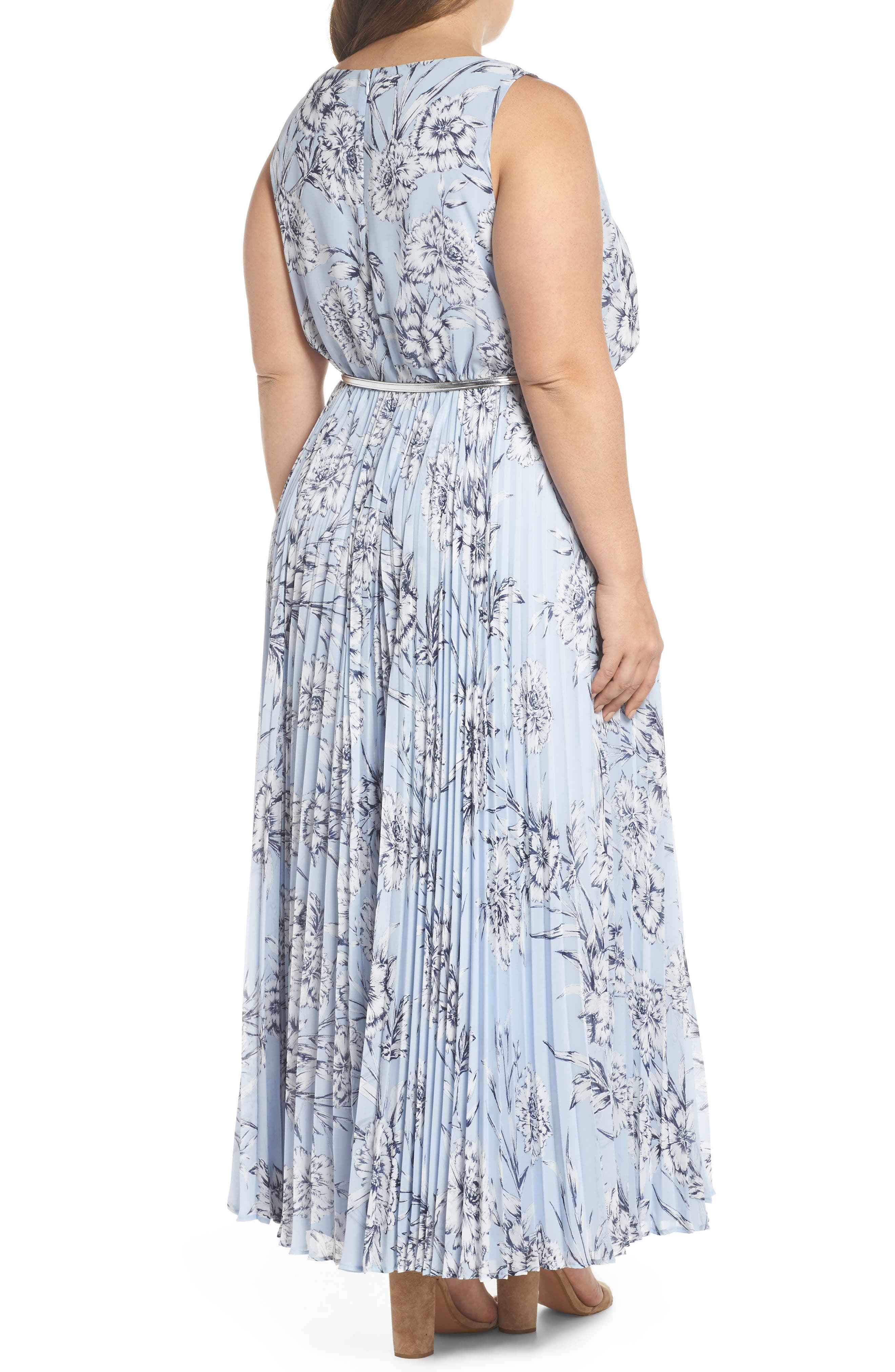 Belted Floral Maxi Dress,                             Alternate thumbnail 2, color,                             Blue