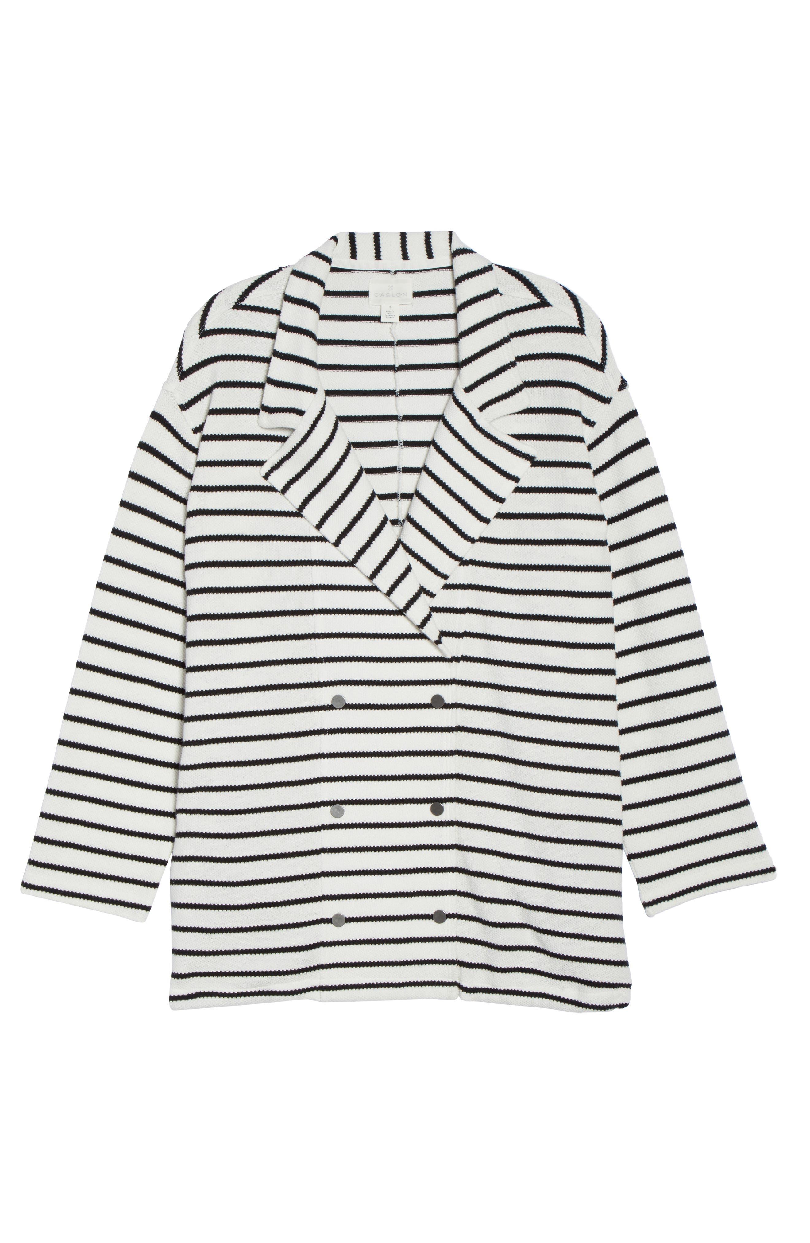 Stripe Peacoat Knit Jacket,                             Alternate thumbnail 7, color,                             Ivory- Black Stripe