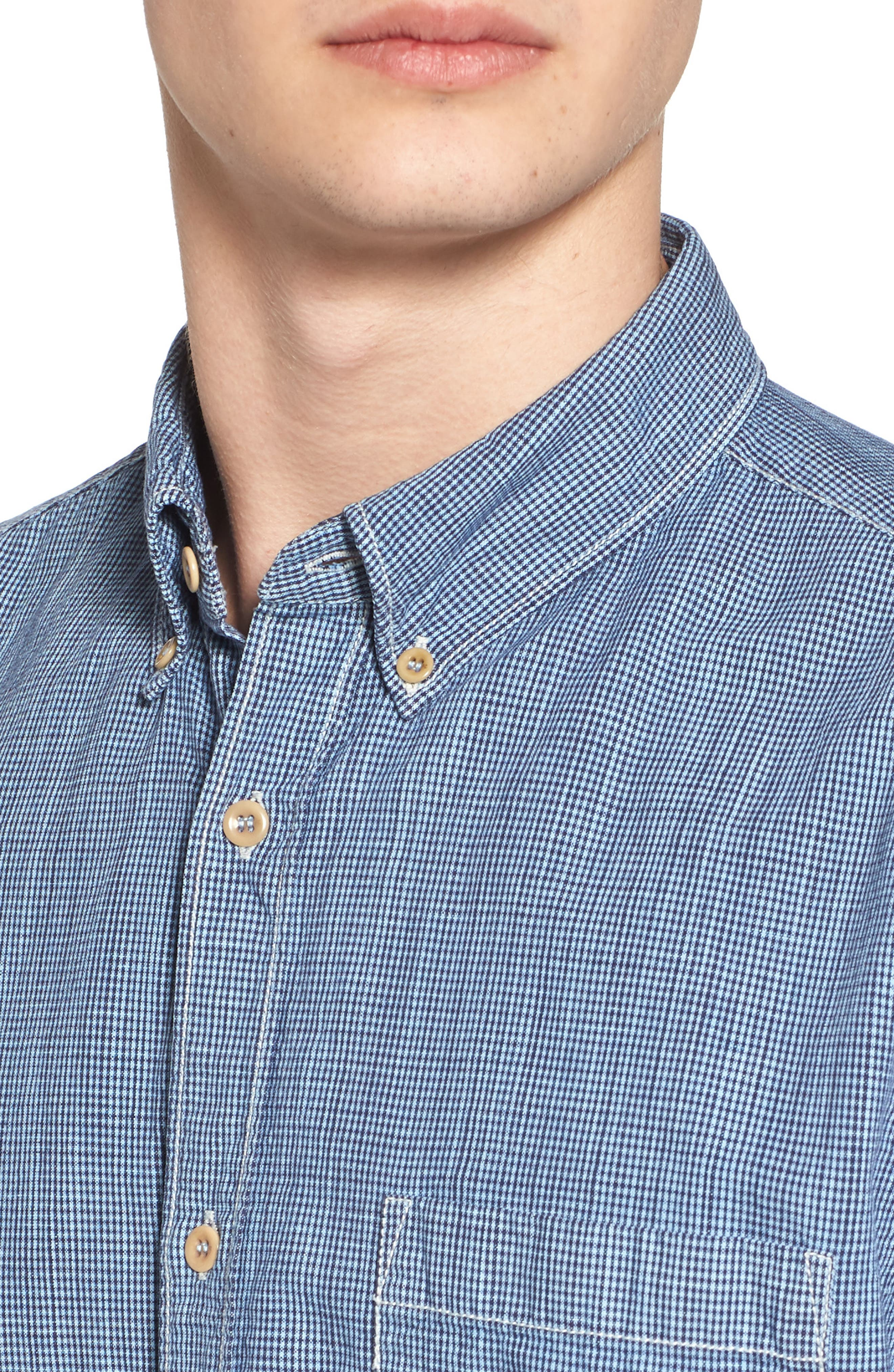 Alternate Image 4  - French Connection Slim Fit Check Cotton & Linen Sport Shirt