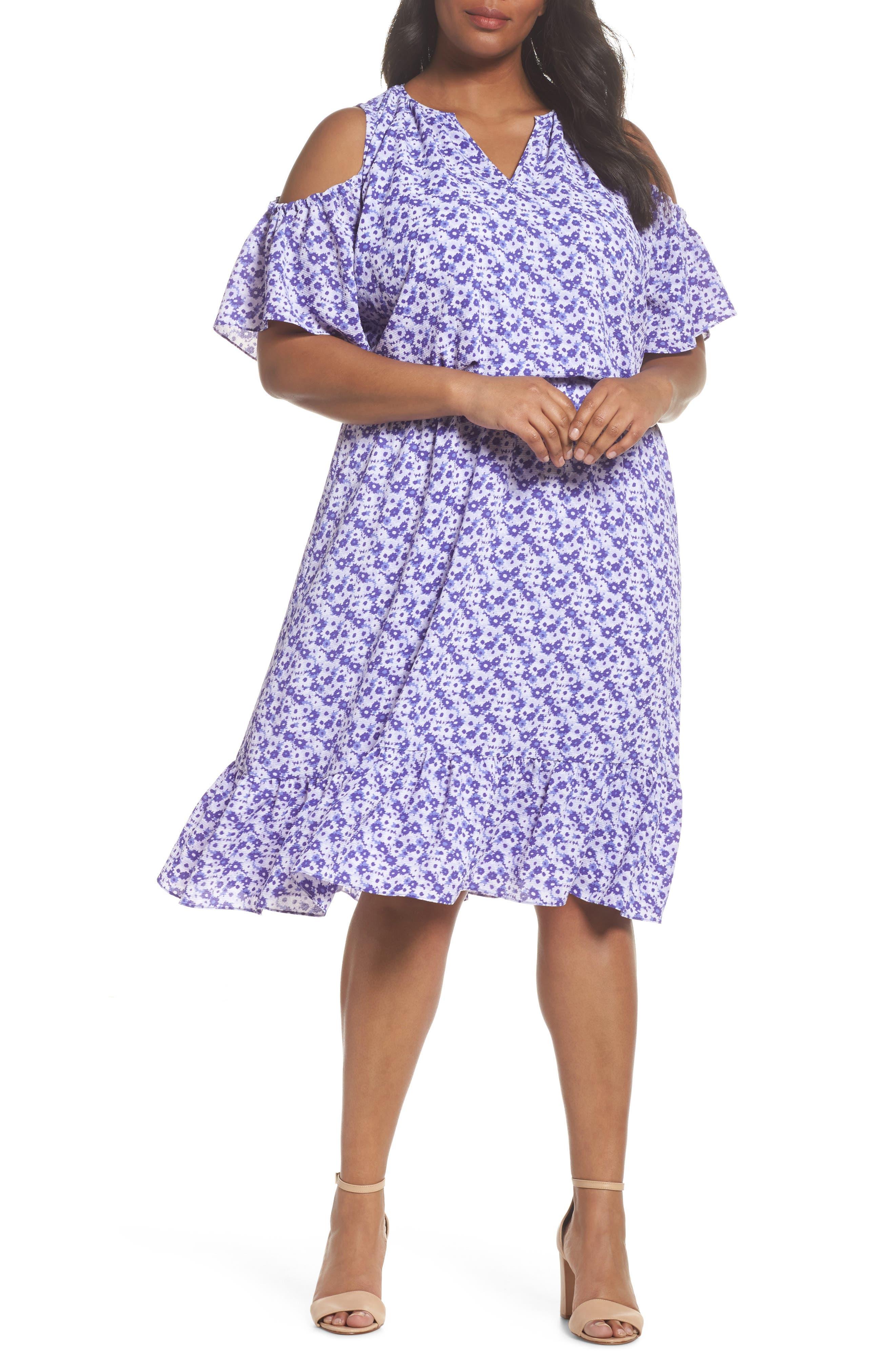 Floral Cold Shoulder Midi Dress,                         Main,                         color, Amethyst/ Light Quartz Multi