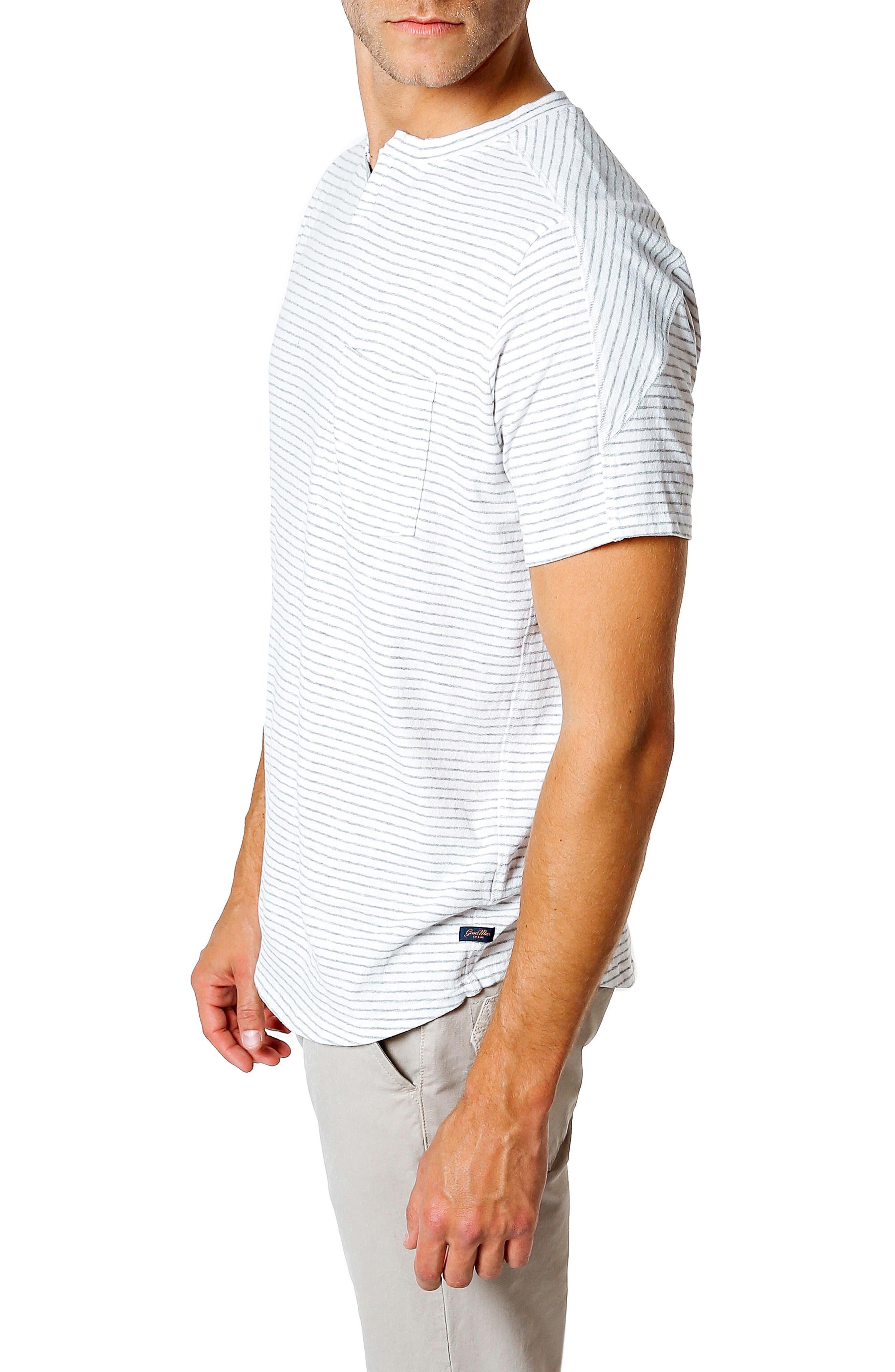 Slim Fit Stripe T-Shirt,                             Alternate thumbnail 3, color,                             White / Grey Heather