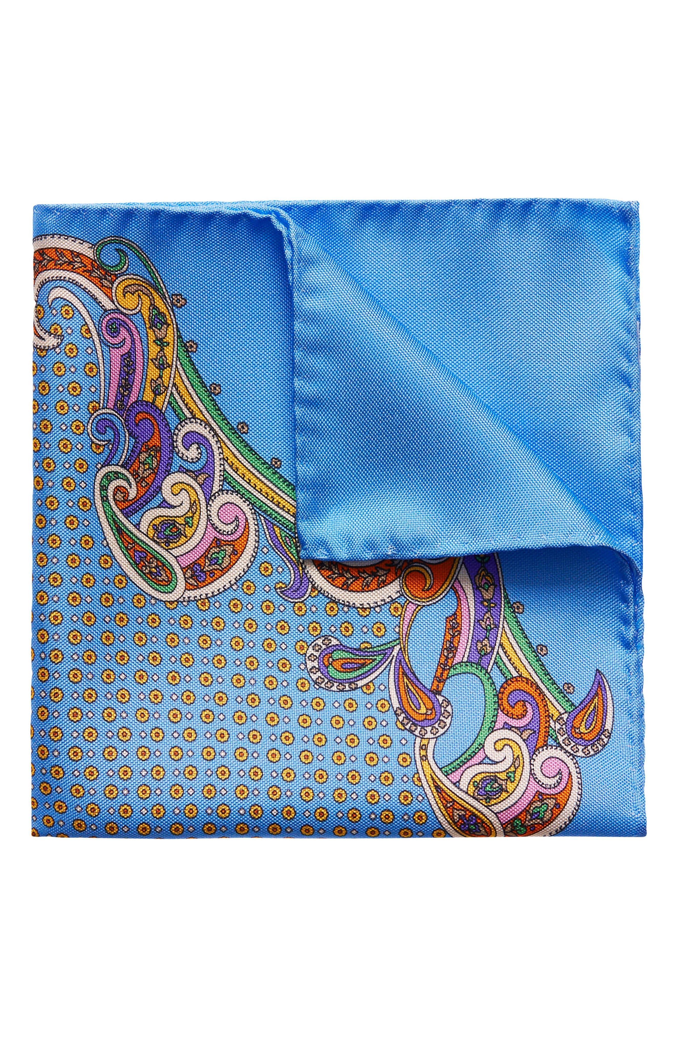 Paisley Silk Pocket Square,                         Main,                         color, Light Blue