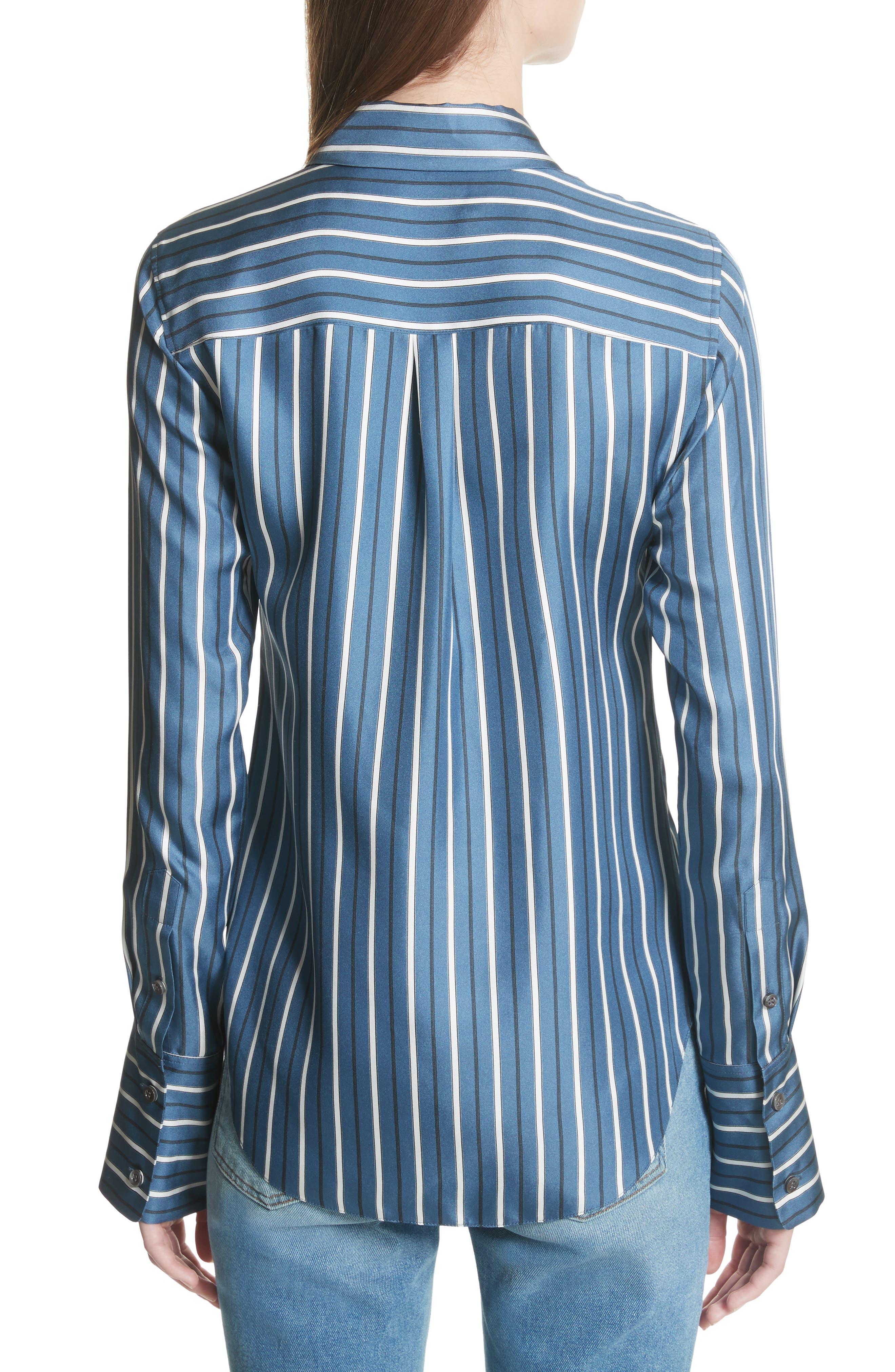 Darby Silk Button Shirt,                             Alternate thumbnail 2, color,                             Light Santorini Blue