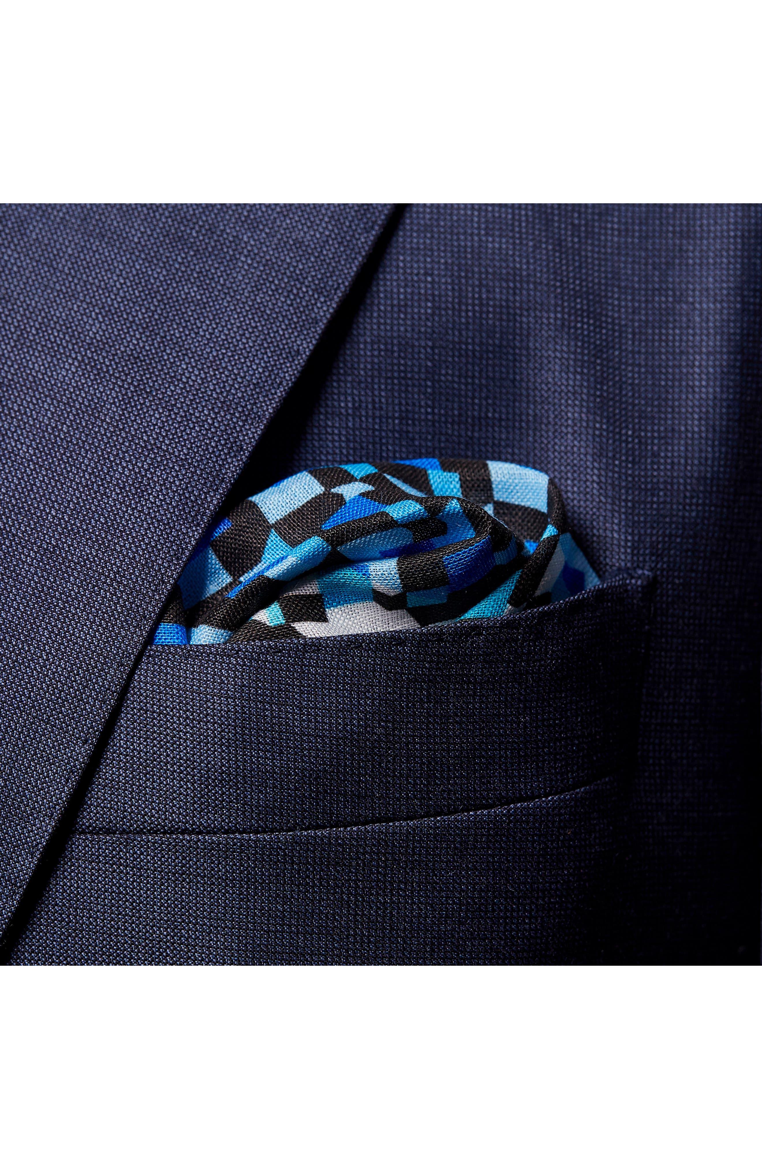 Geometric Linen Pocket Square,                             Alternate thumbnail 2, color,                             Blue