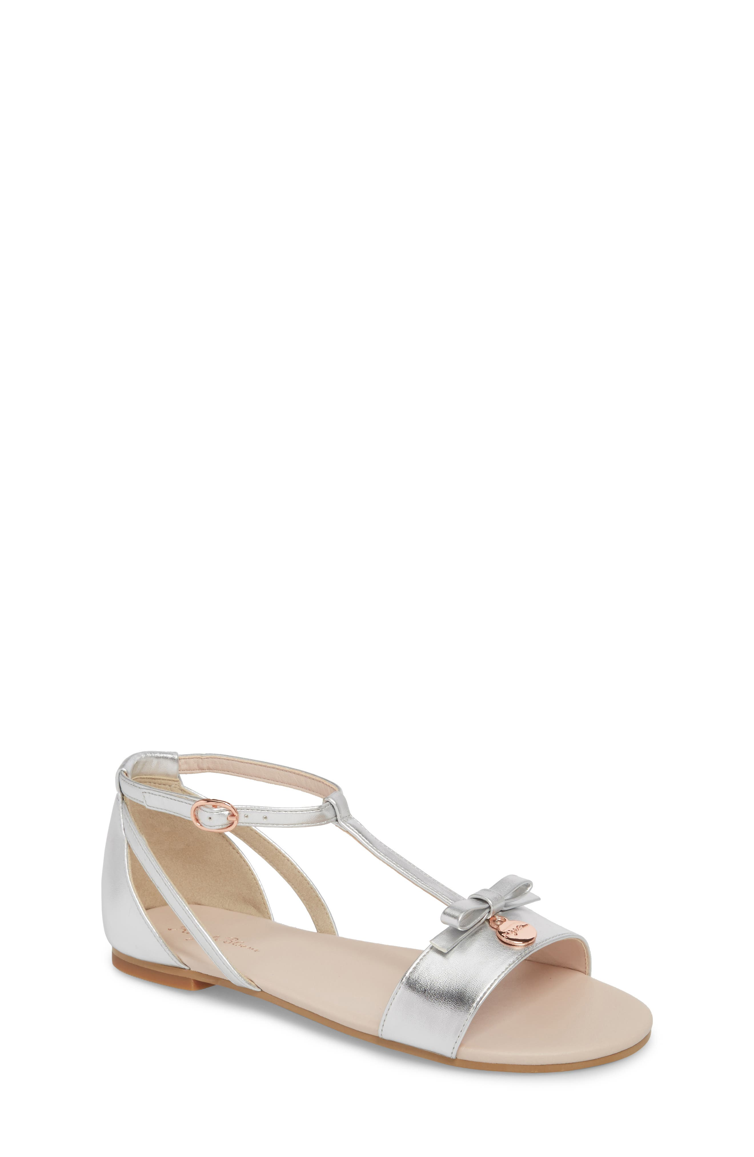 Valentina Metallic T-Strap Sandal,                         Main,                         color, Silver Faux Leather