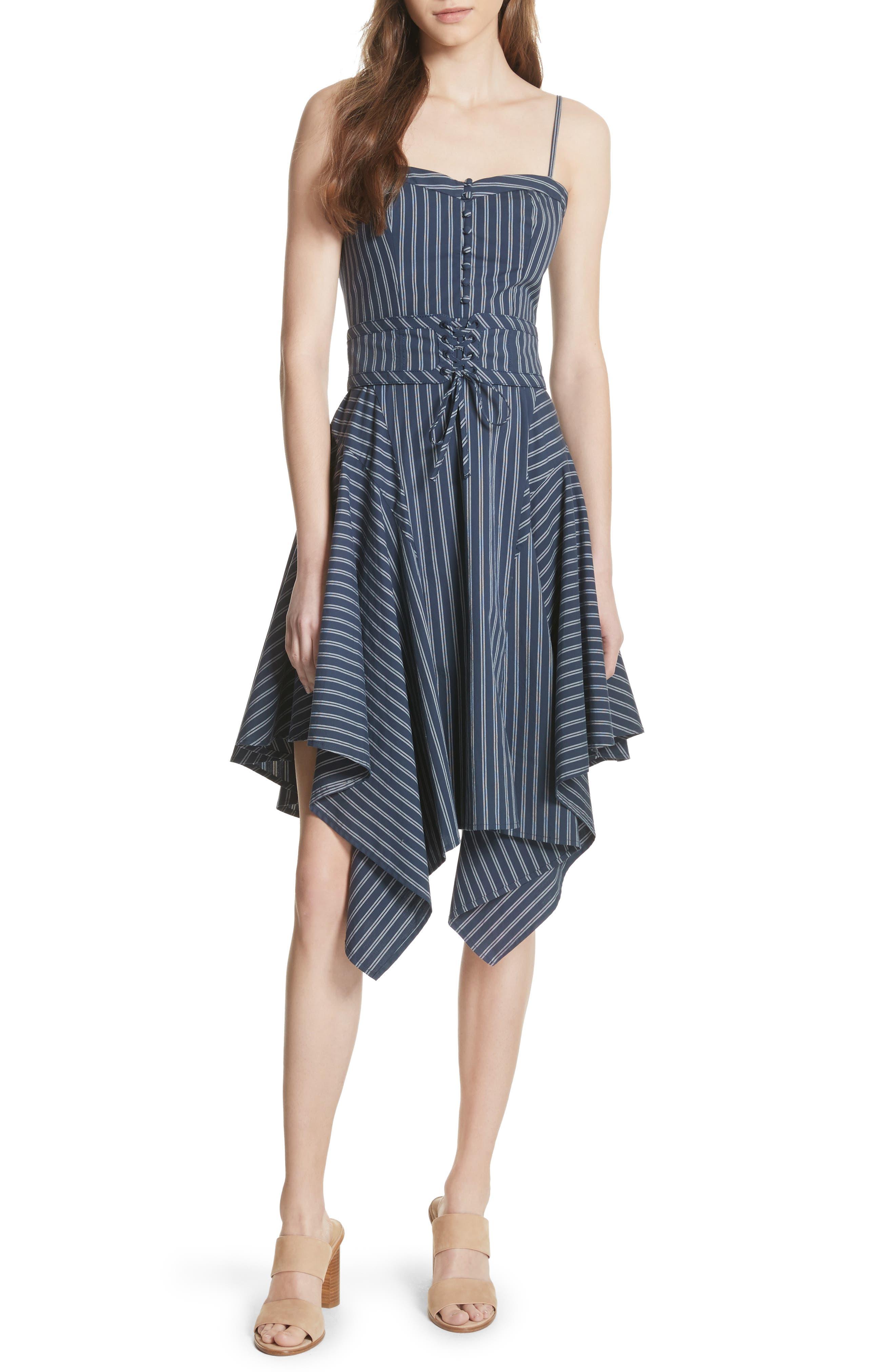 Ronit Fit & Flare Dress,                             Main thumbnail 1, color,                             Dark Navy