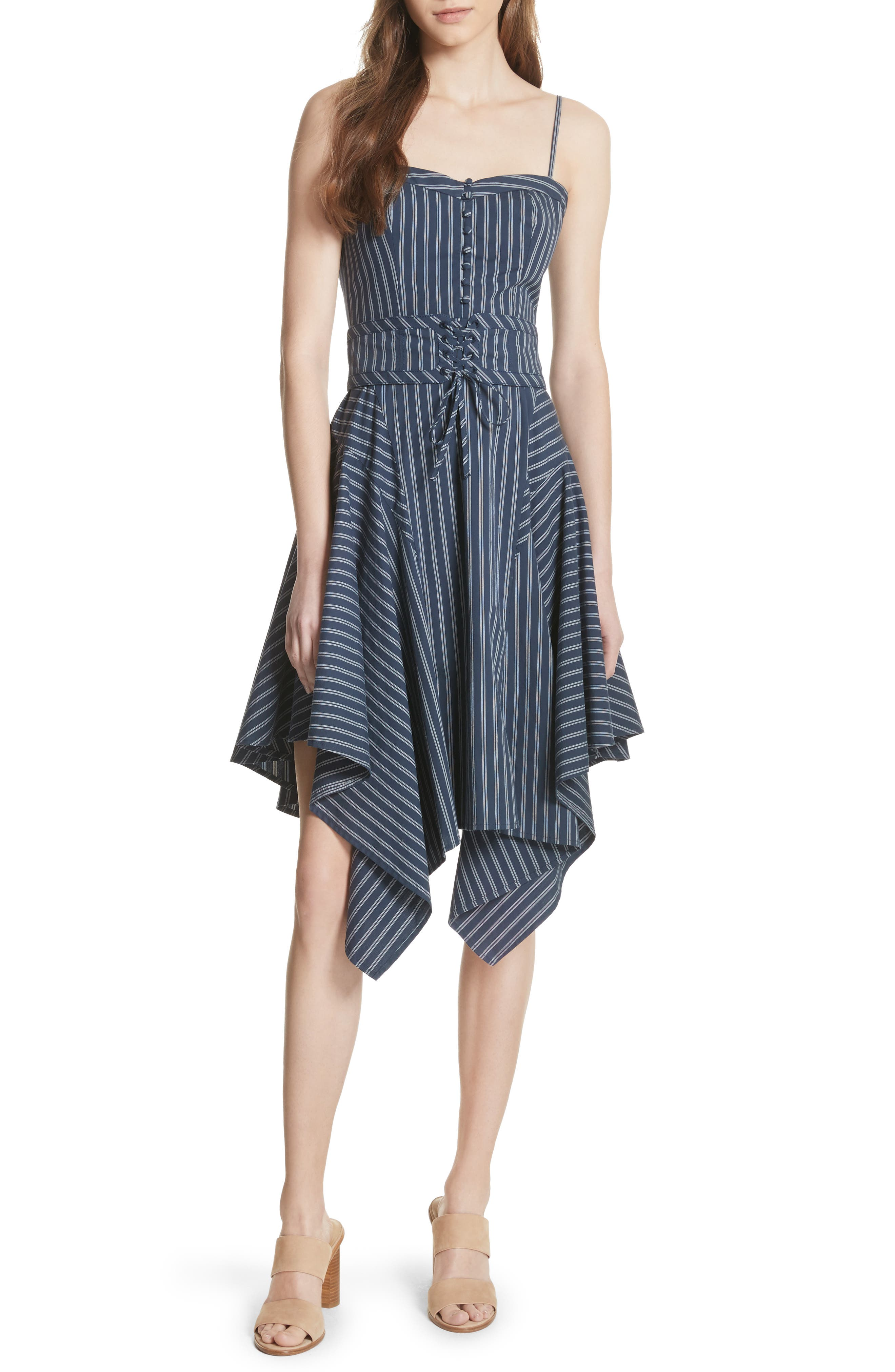 Ronit Fit & Flare Dress,                         Main,                         color, Dark Navy