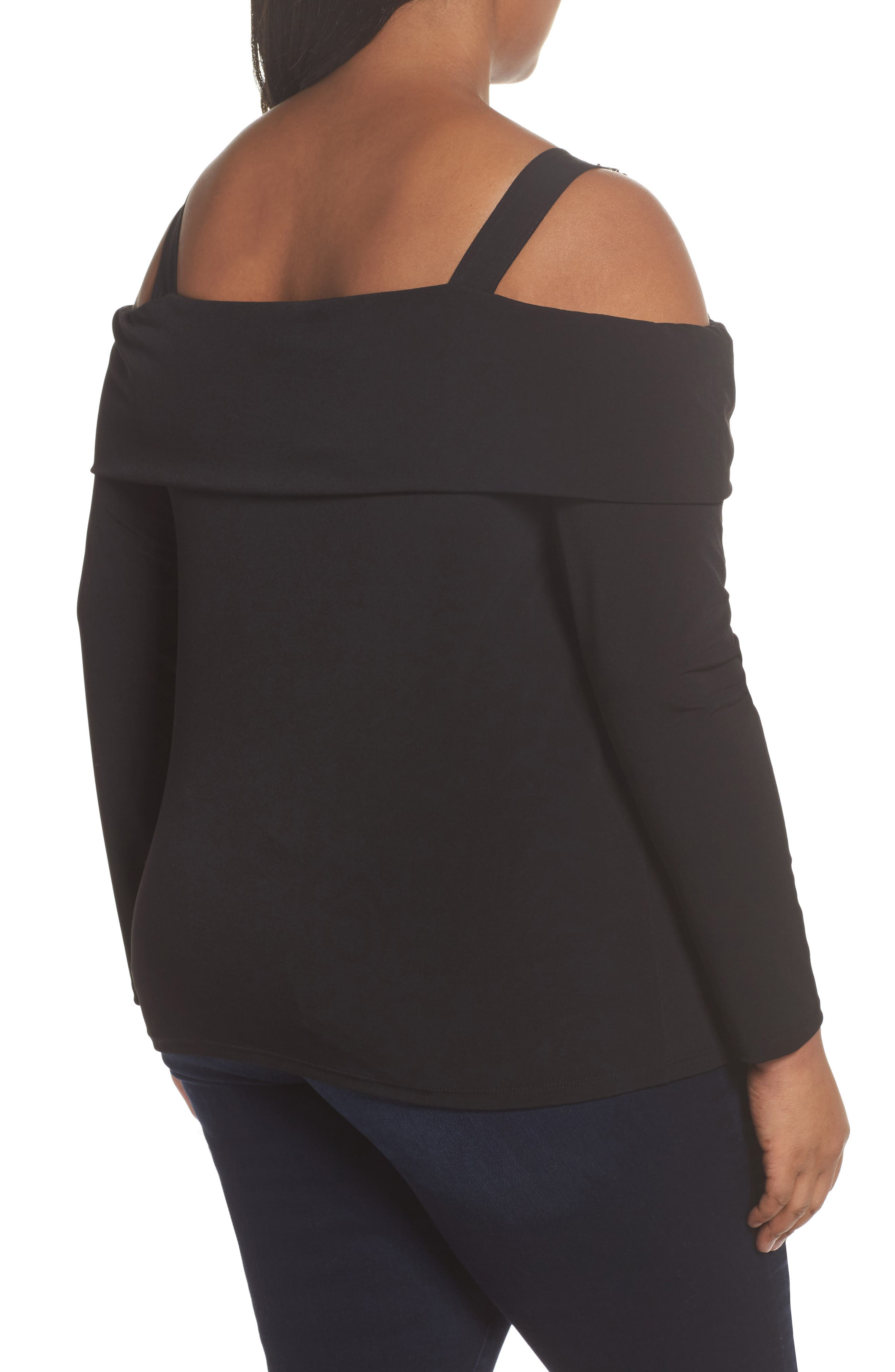 Alternate Image 2  - MICHAEL Michael Kors Buckle Strap Off the Shoulder Top (Plus Size)