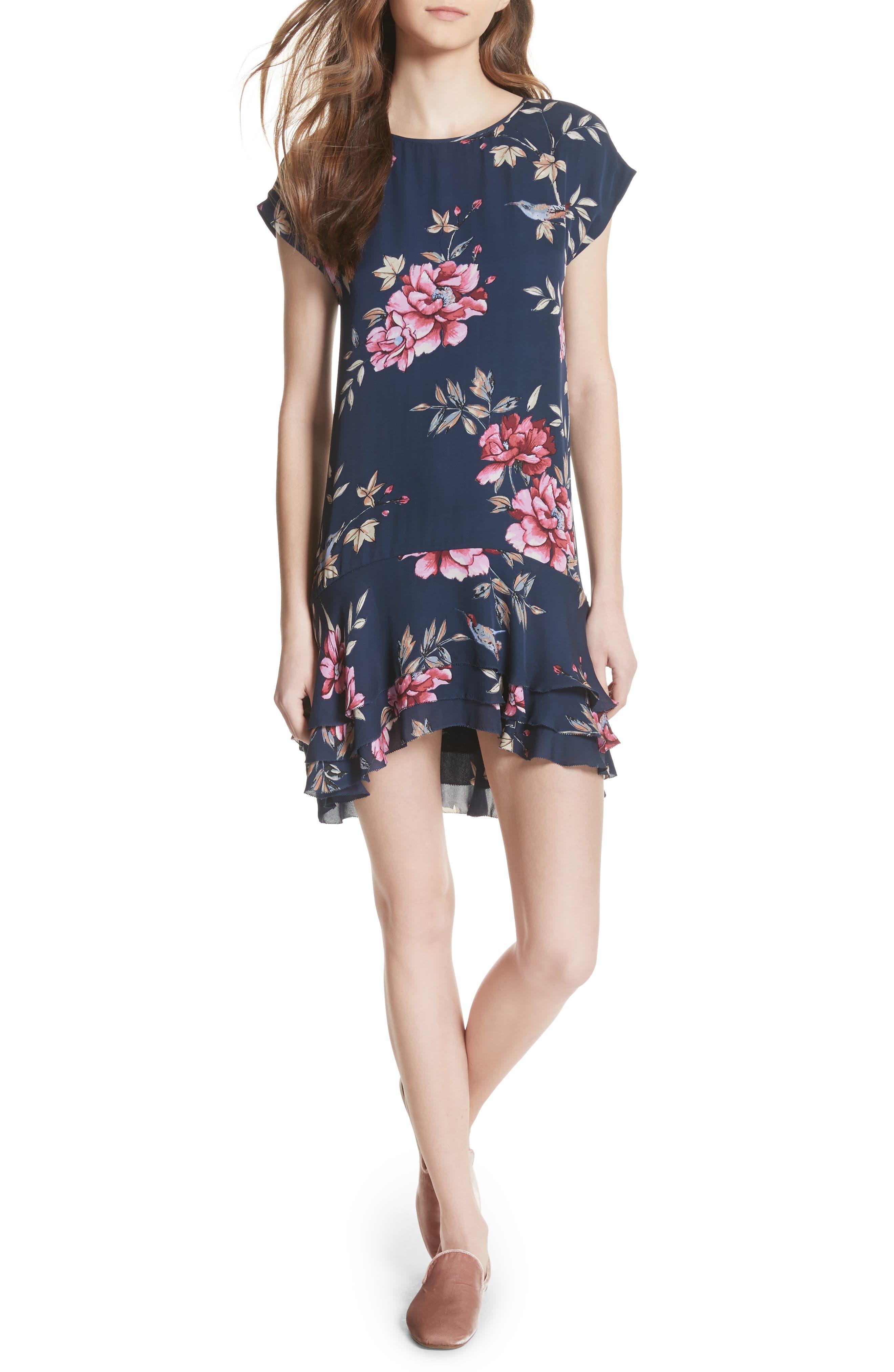 Coreen Drop Waist Floral Silk Dress,                             Main thumbnail 1, color,                             Dark Navy