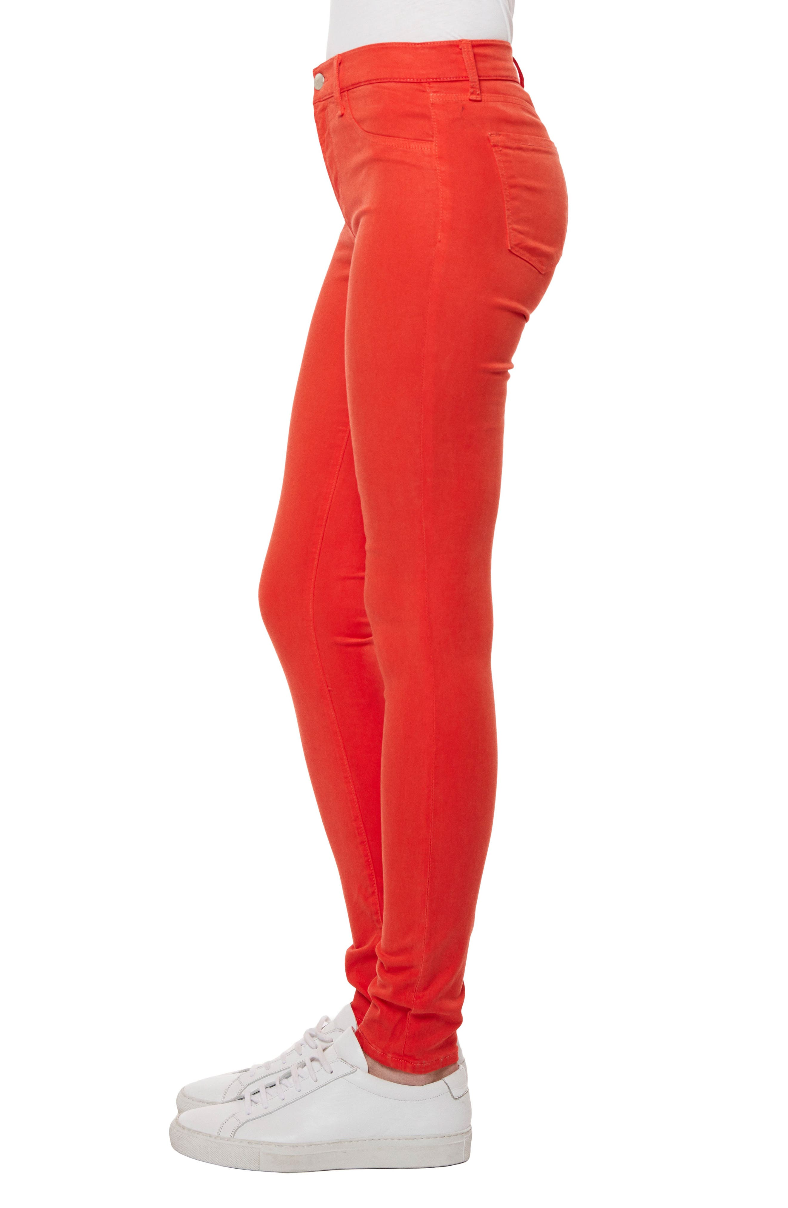485 Mid Rise Skinny Jeans,                             Alternate thumbnail 3, color,                             Bright Coral