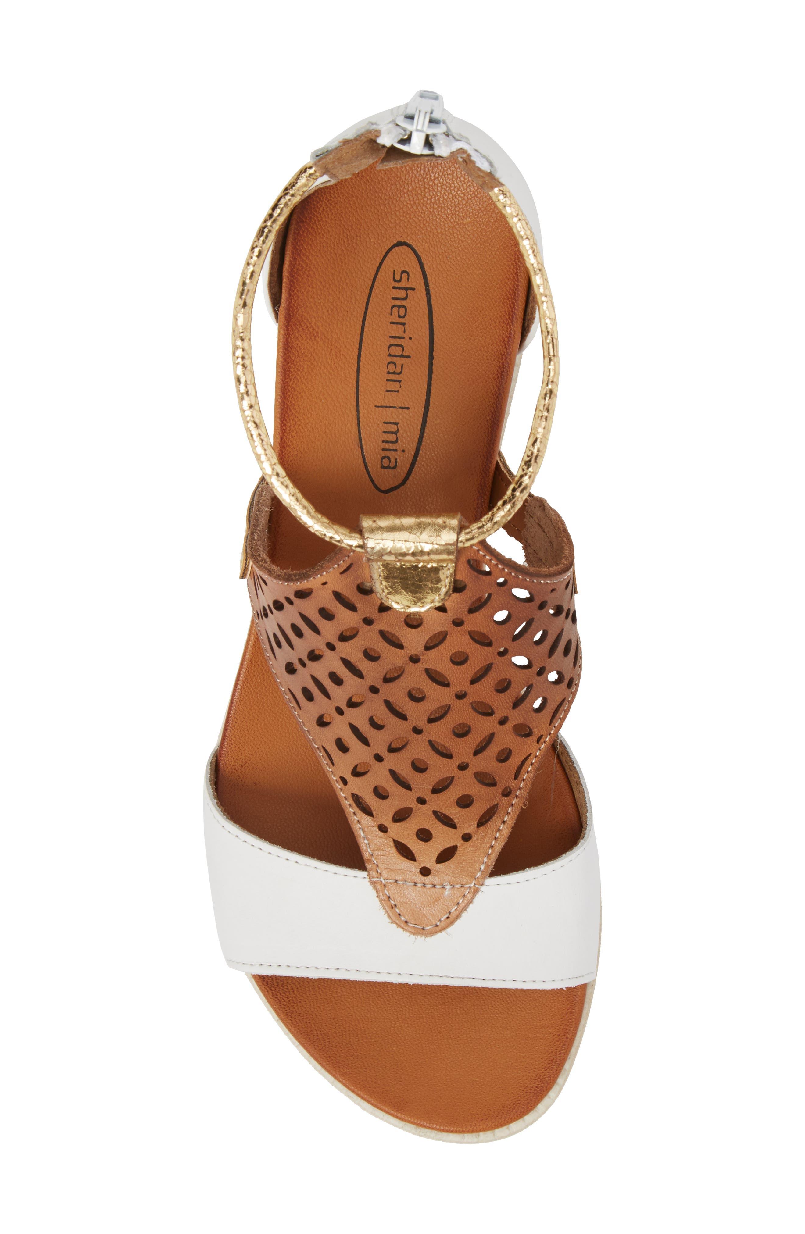 Blaze Sandal,                             Alternate thumbnail 5, color,                             White Combo Leather