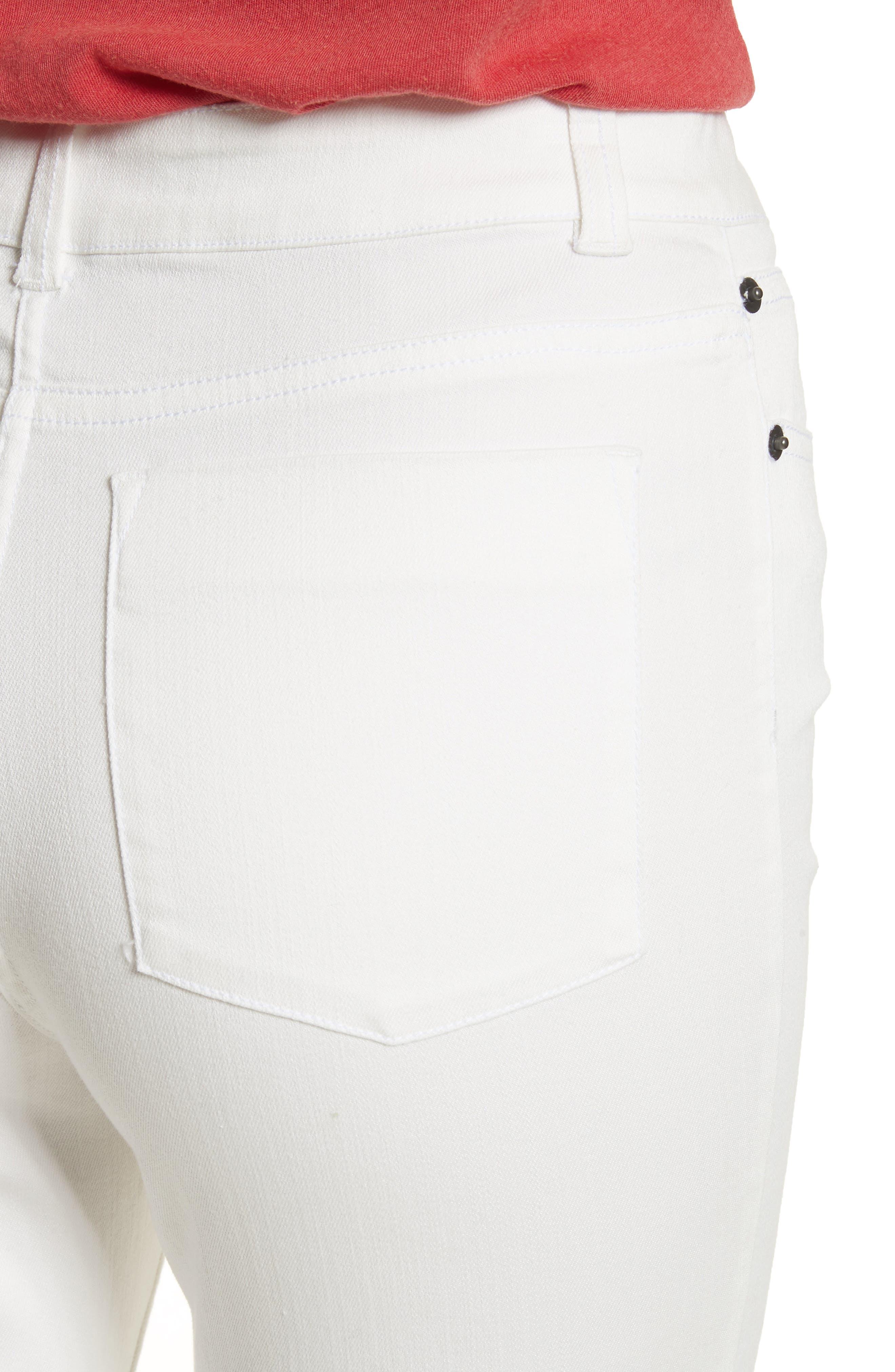 AO.LA Zoe Ruffle Hem Crop Jeans,                             Alternate thumbnail 4, color,                             White