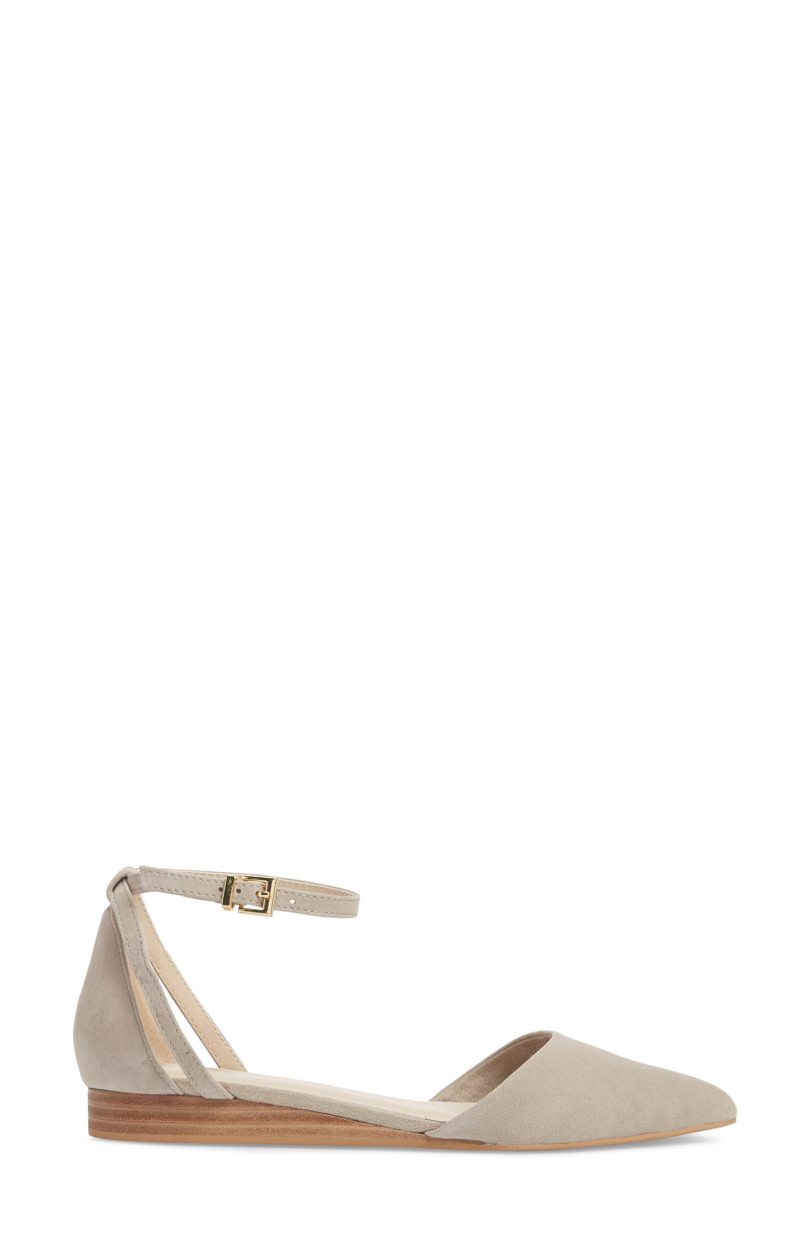Plateau Ankle Strap Flat,                             Alternate thumbnail 3, color,                             Taupe Suede