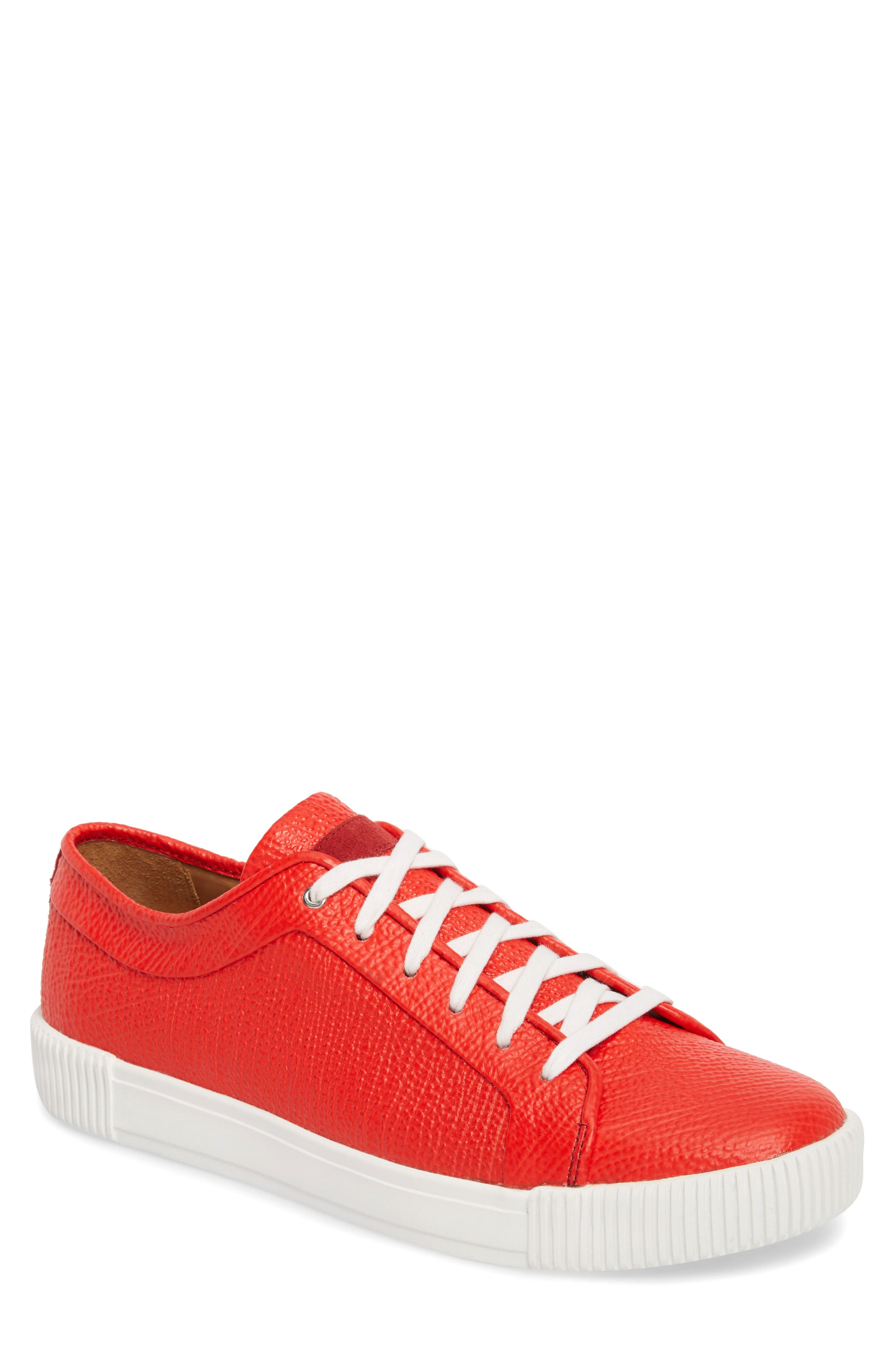 Lyons Low Top Sneaker,                             Main thumbnail 1, color,                             Red Leather
