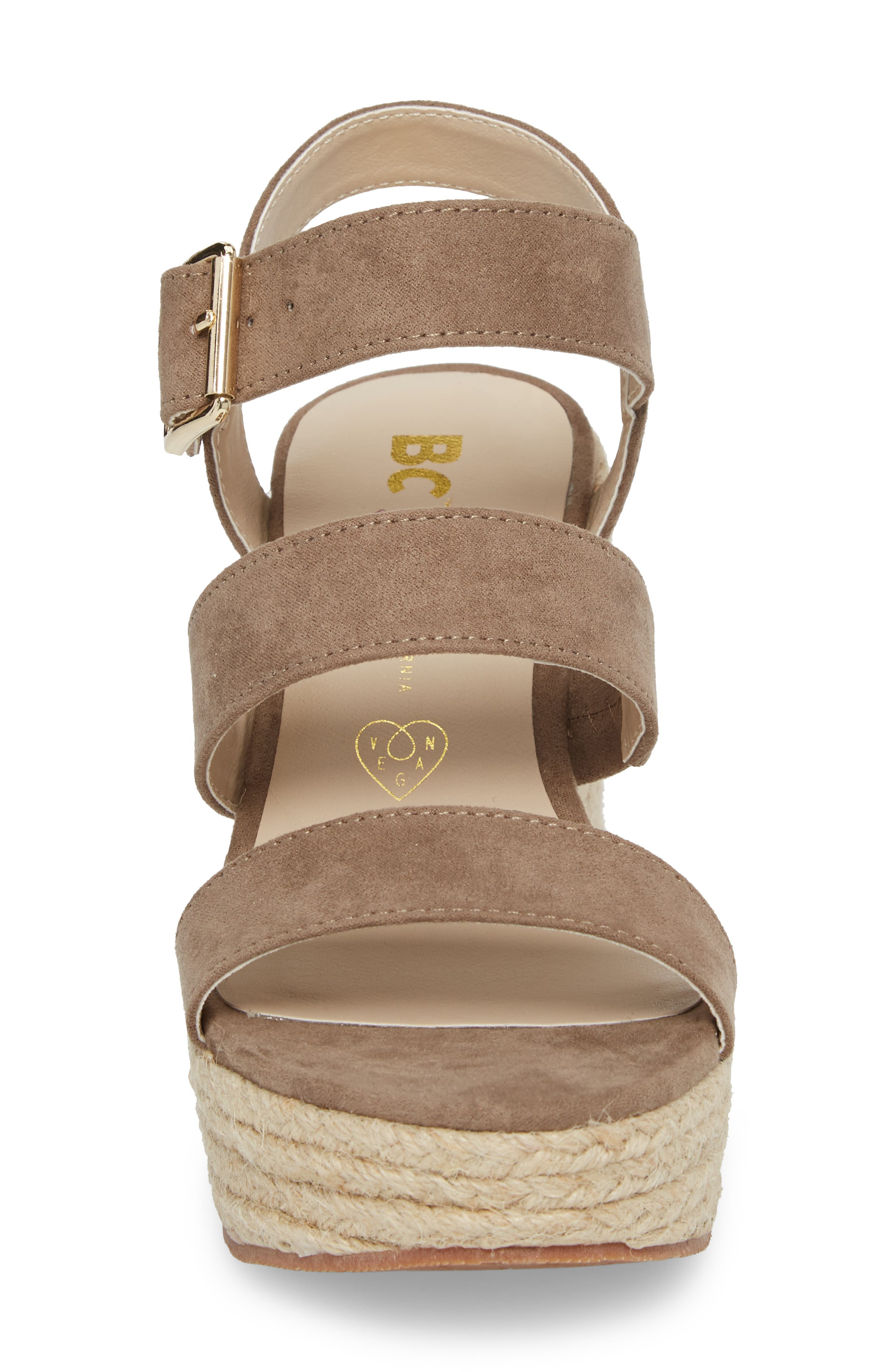 Snack Bar Espadrille Wedge Sandal,                             Alternate thumbnail 4, color,                             Taupe Suede