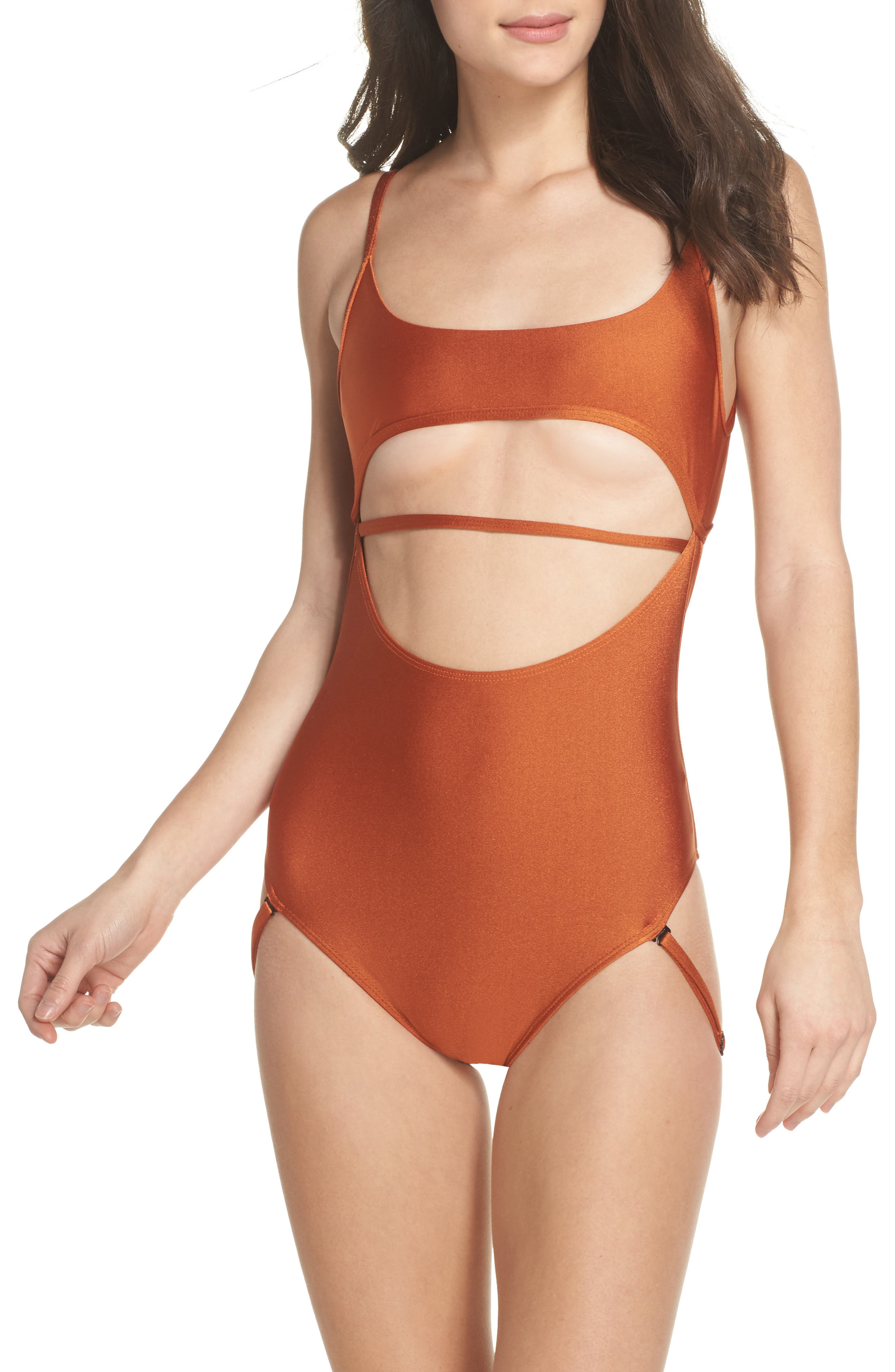 Strata One-Piece Swimsuit,                         Main,                         color, Ginger Orange