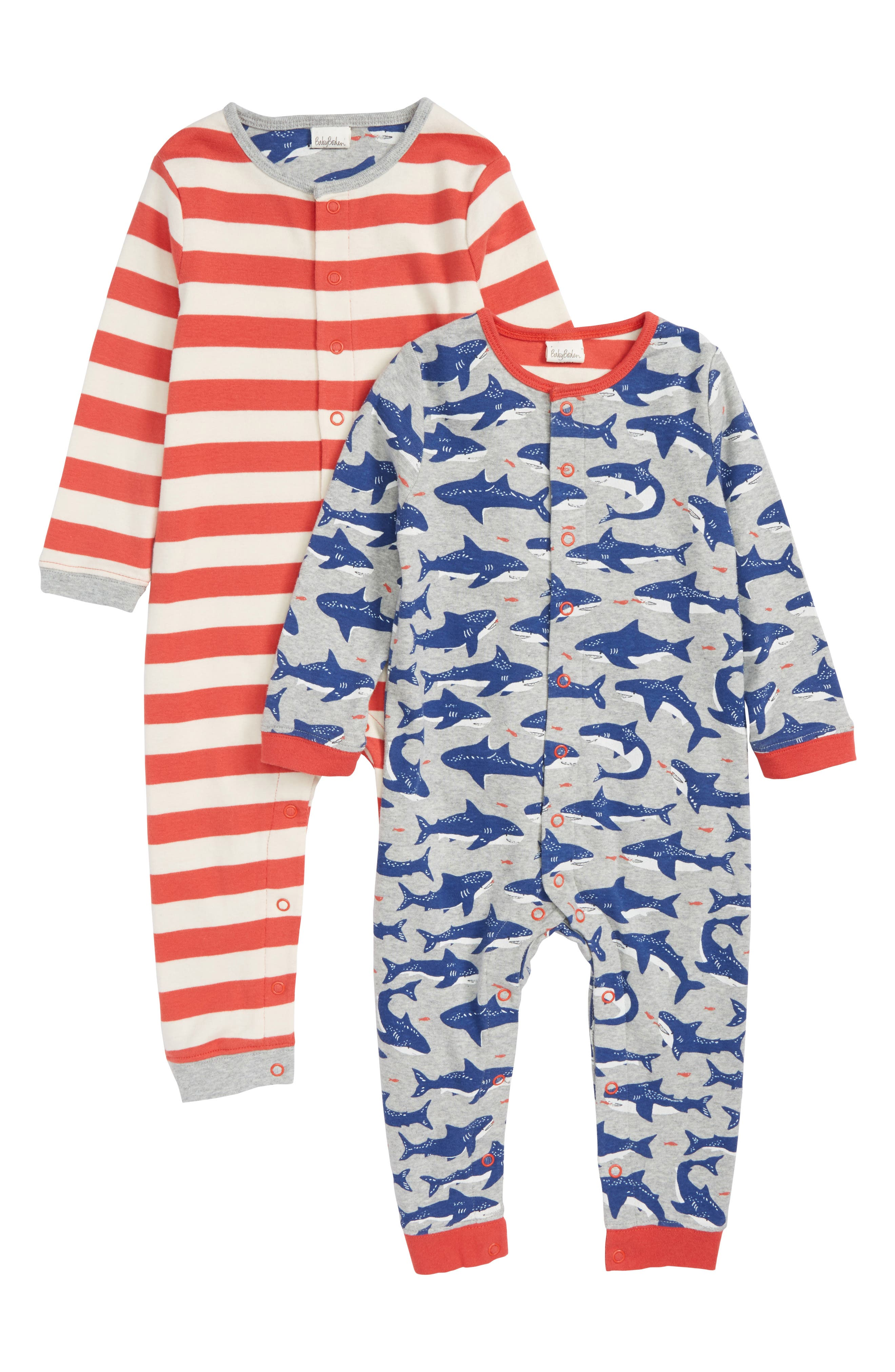 2-Pack Rompers,                         Main,                         color, Grey Marl Sharks