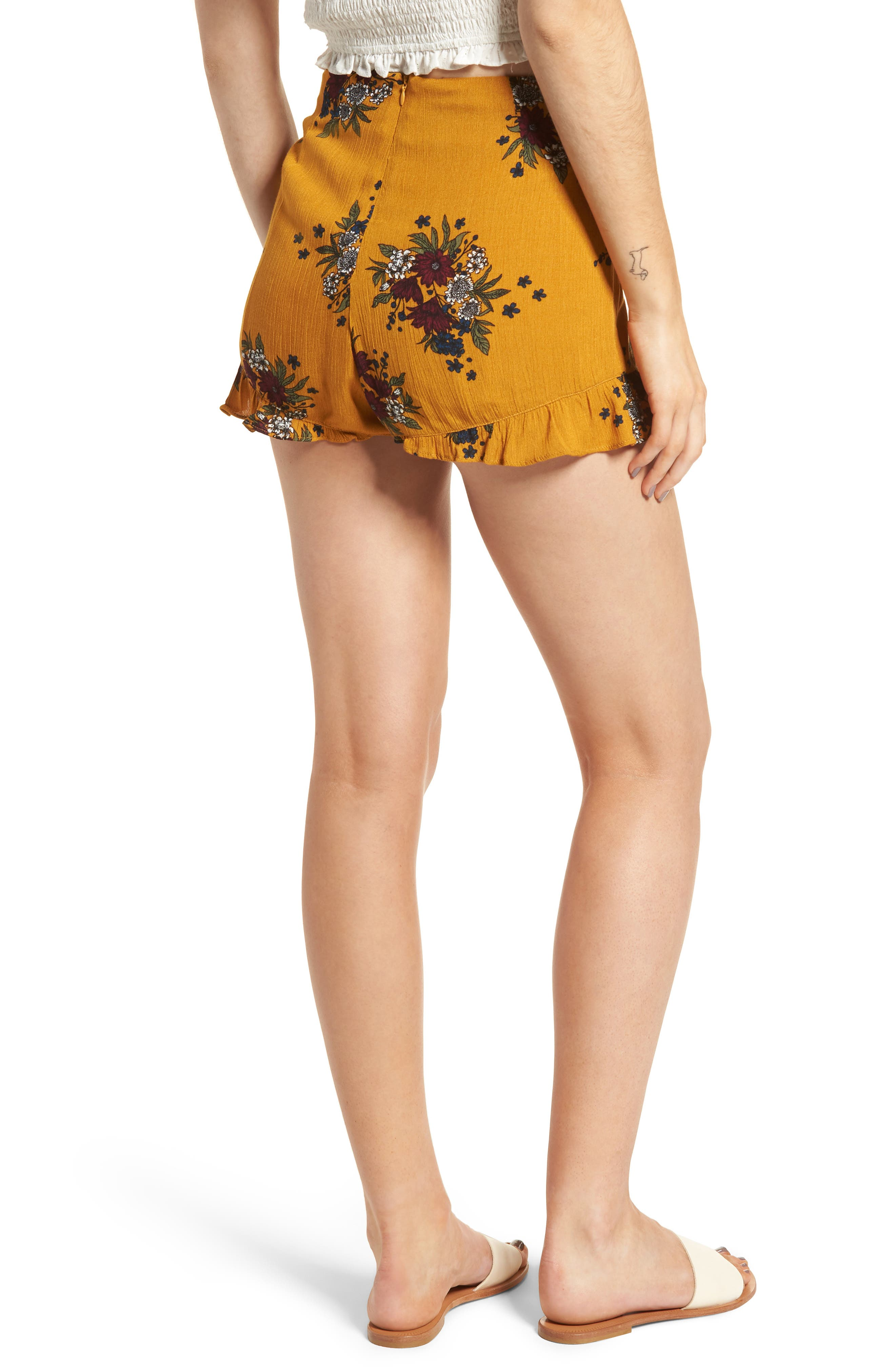 Theia Floral Ruffle Hem Shorts,                             Alternate thumbnail 2, color,                             Honey