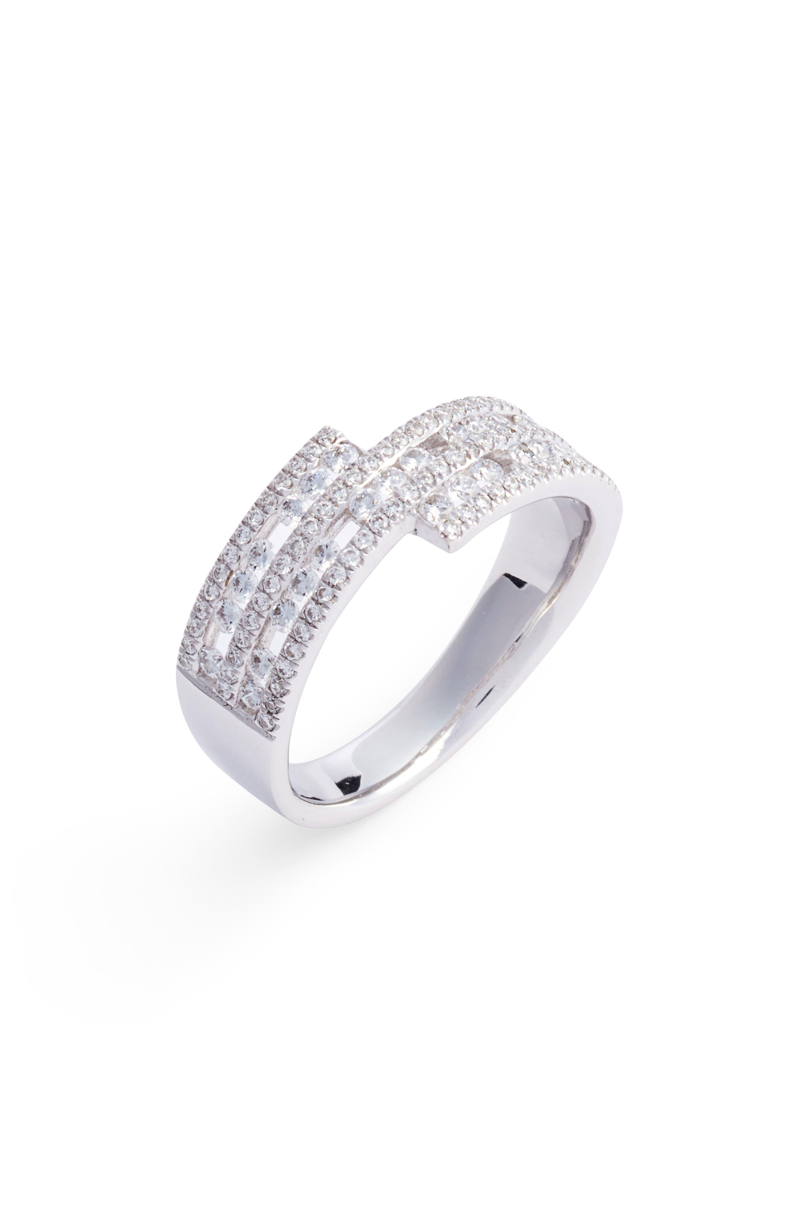 Amara Luxe Wrap Diamond Ring,                         Main,                         color, White Gold