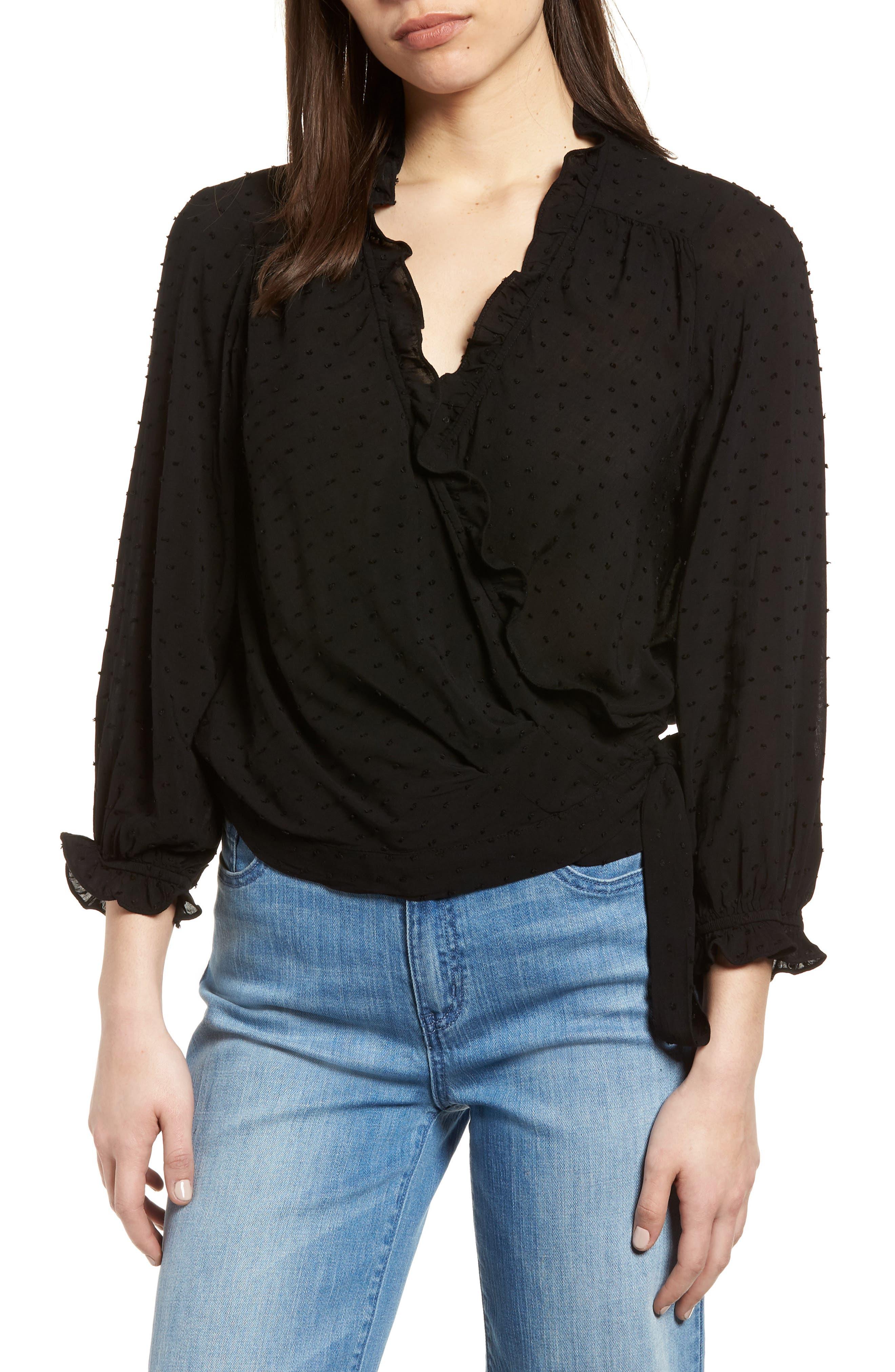 Swiss Dot Ruffle Wrap Blouse,                         Main,                         color, Black
