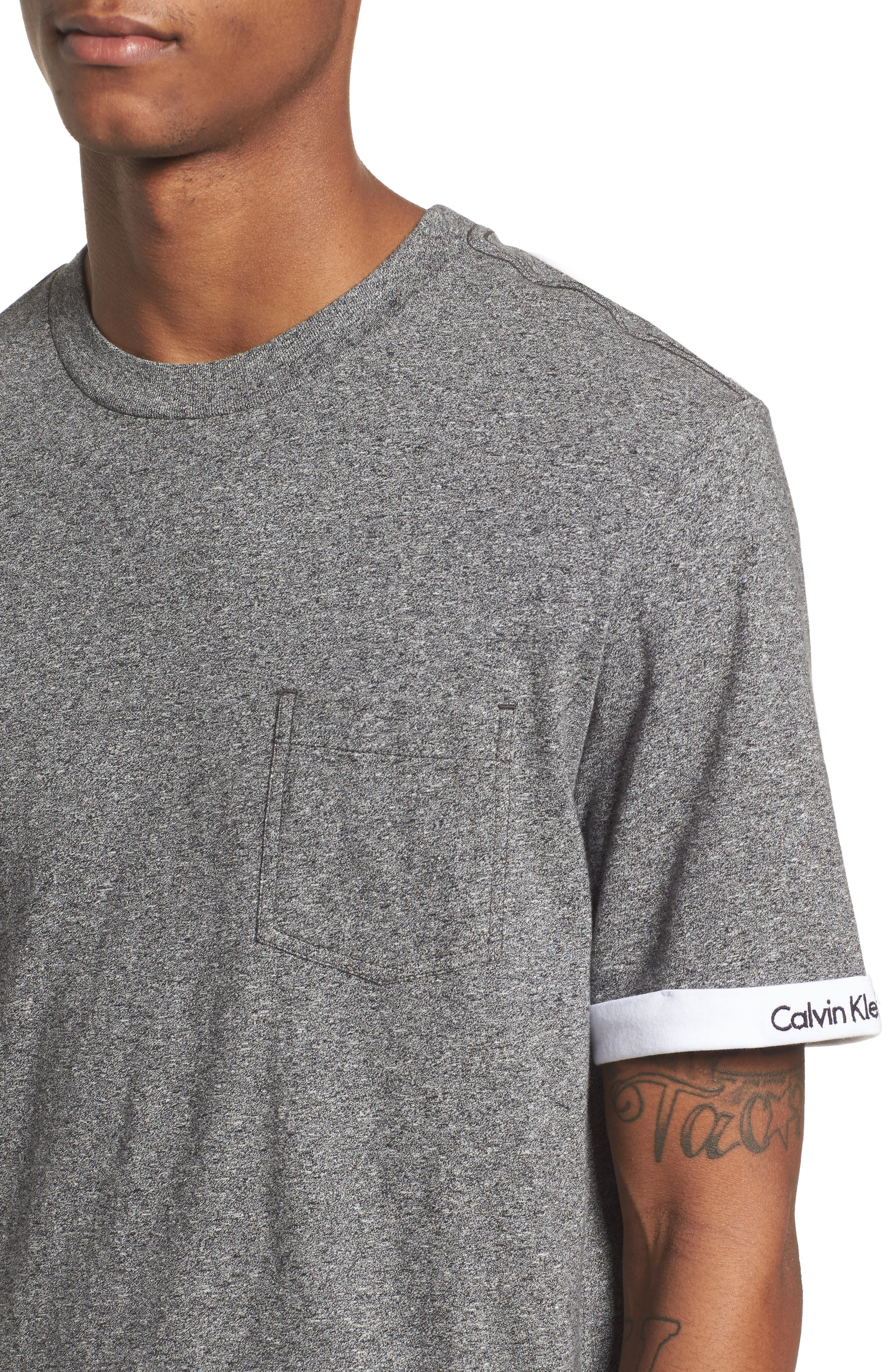 Rolled Cuff Pocket T-Shirt,                             Alternate thumbnail 4, color,                             Granite Heather