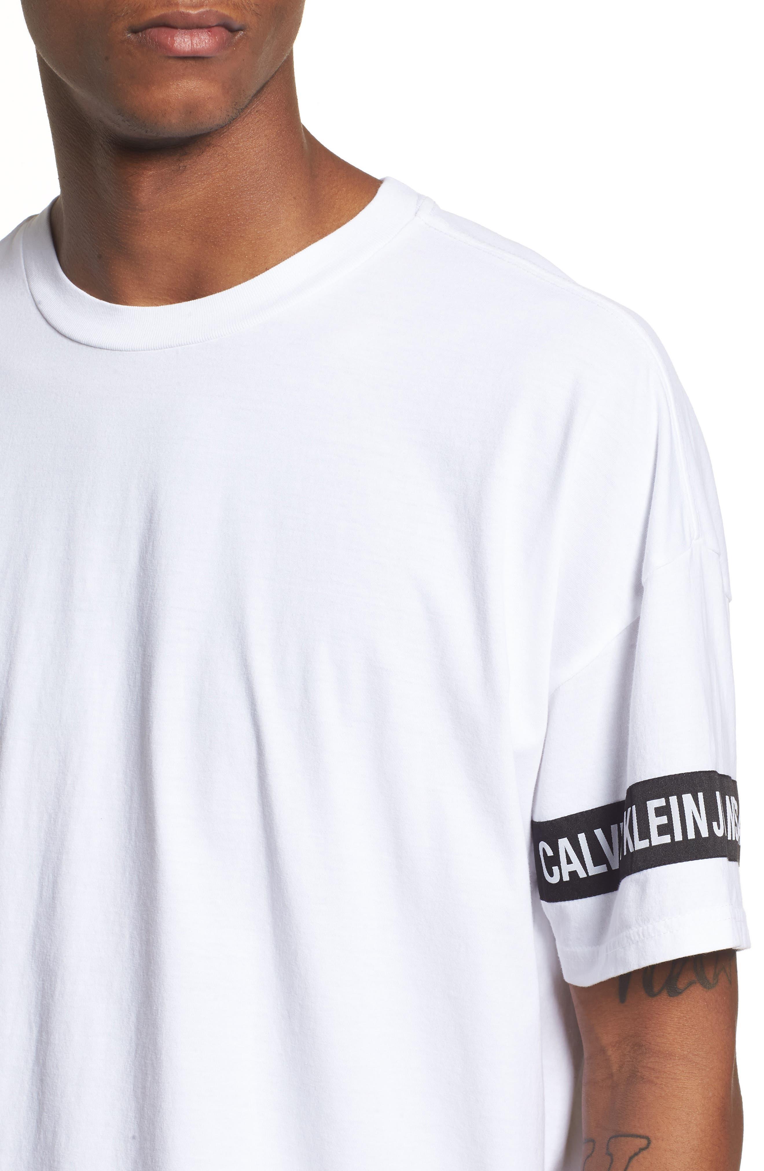 Logo Tape T-Shirt,                             Alternate thumbnail 4, color,                             Standard White