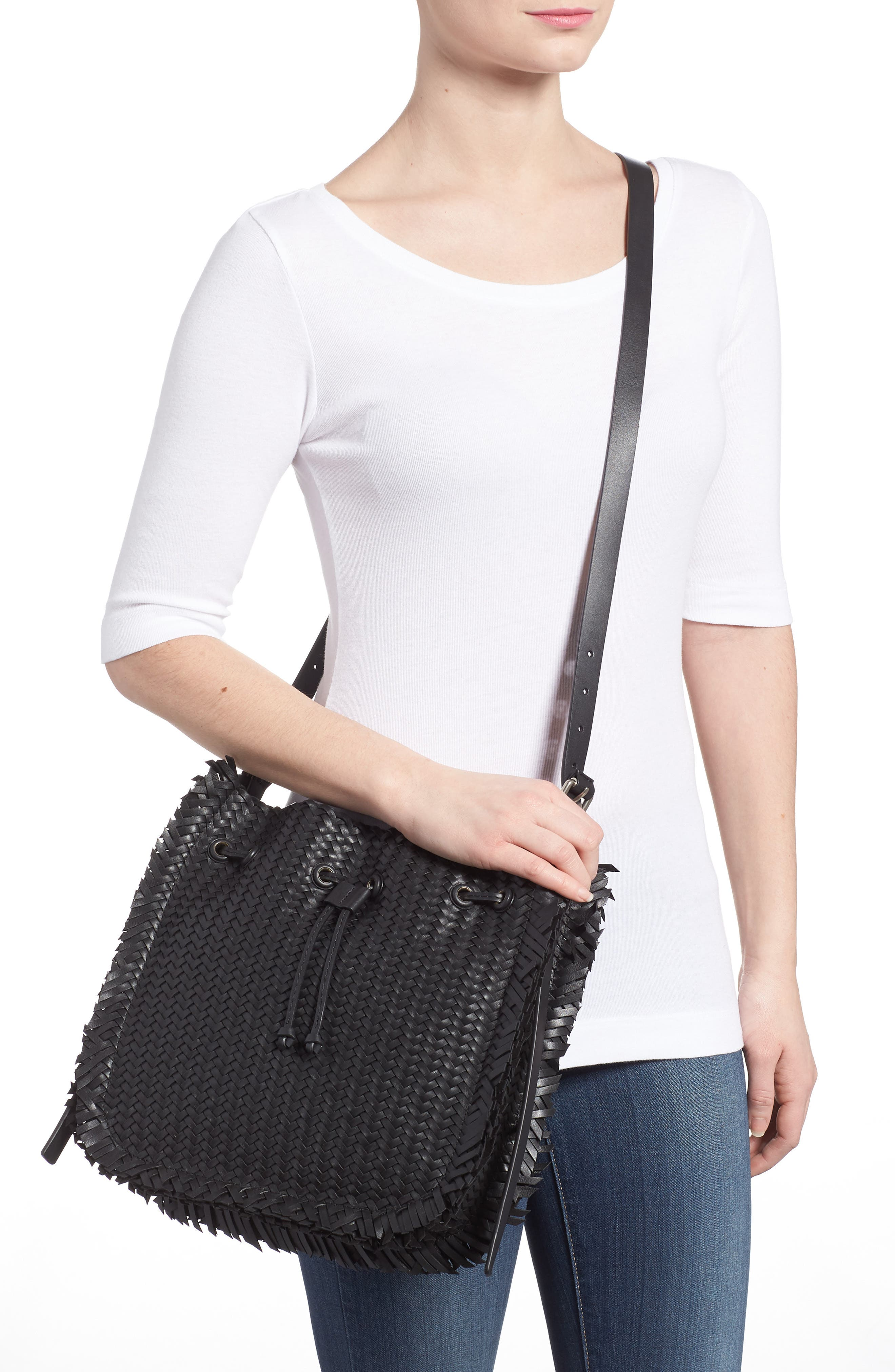 Maldives Woven Frayed Leather Tote,                             Alternate thumbnail 2, color,                             Black