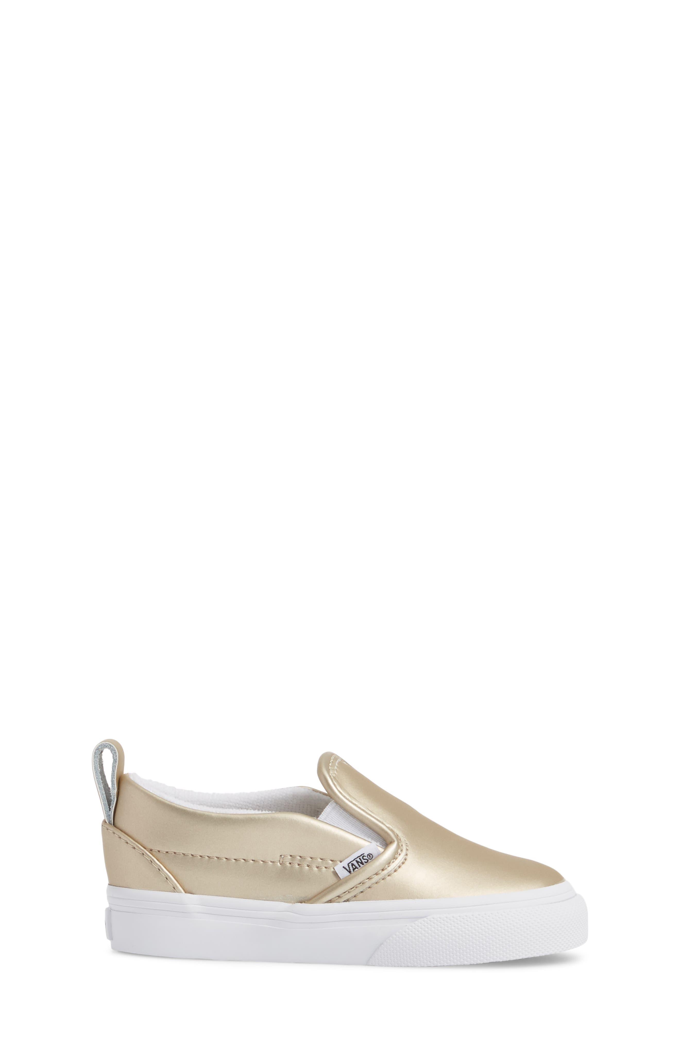 Classic Slip-On V Sneaker,                             Alternate thumbnail 3, color,                             Muted Metallic Gold/ White