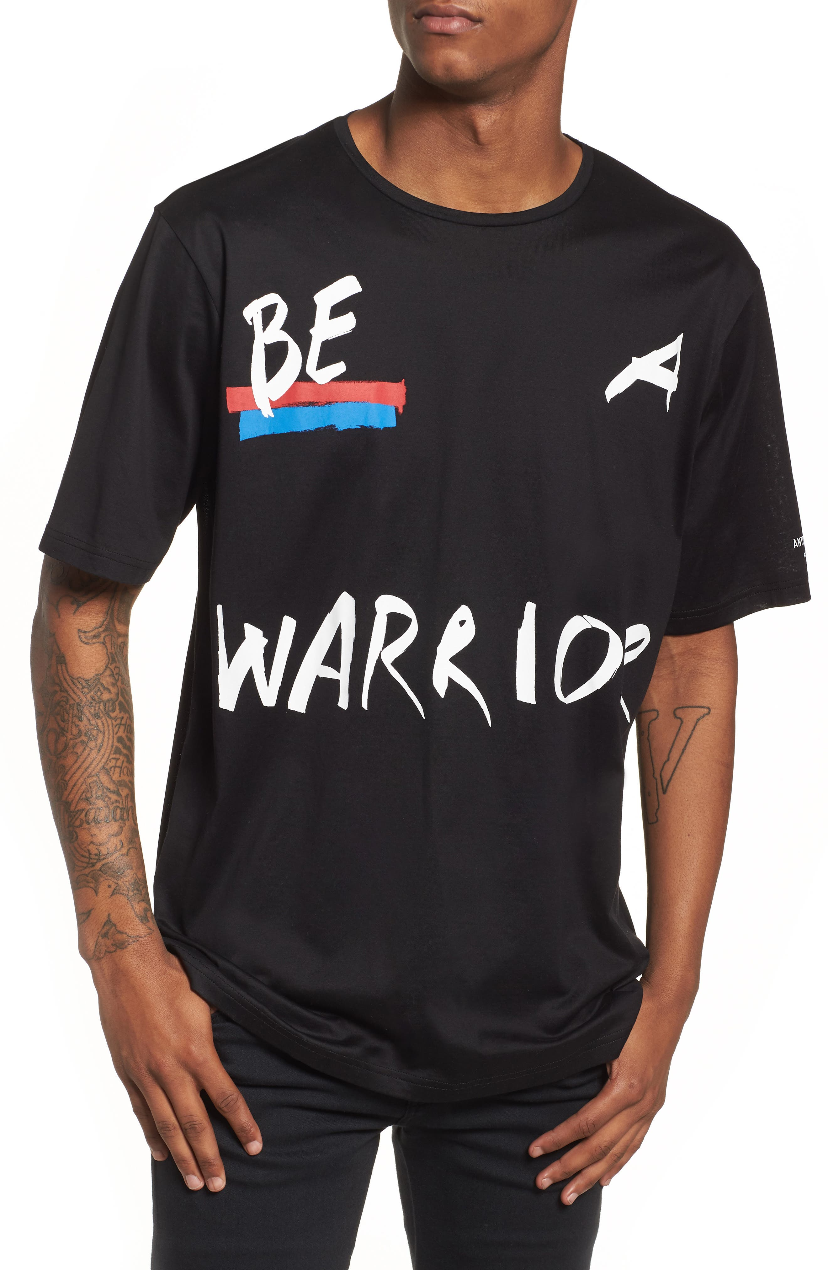 Be Warrior Graphic T-Shirt,                             Main thumbnail 1, color,                             Black