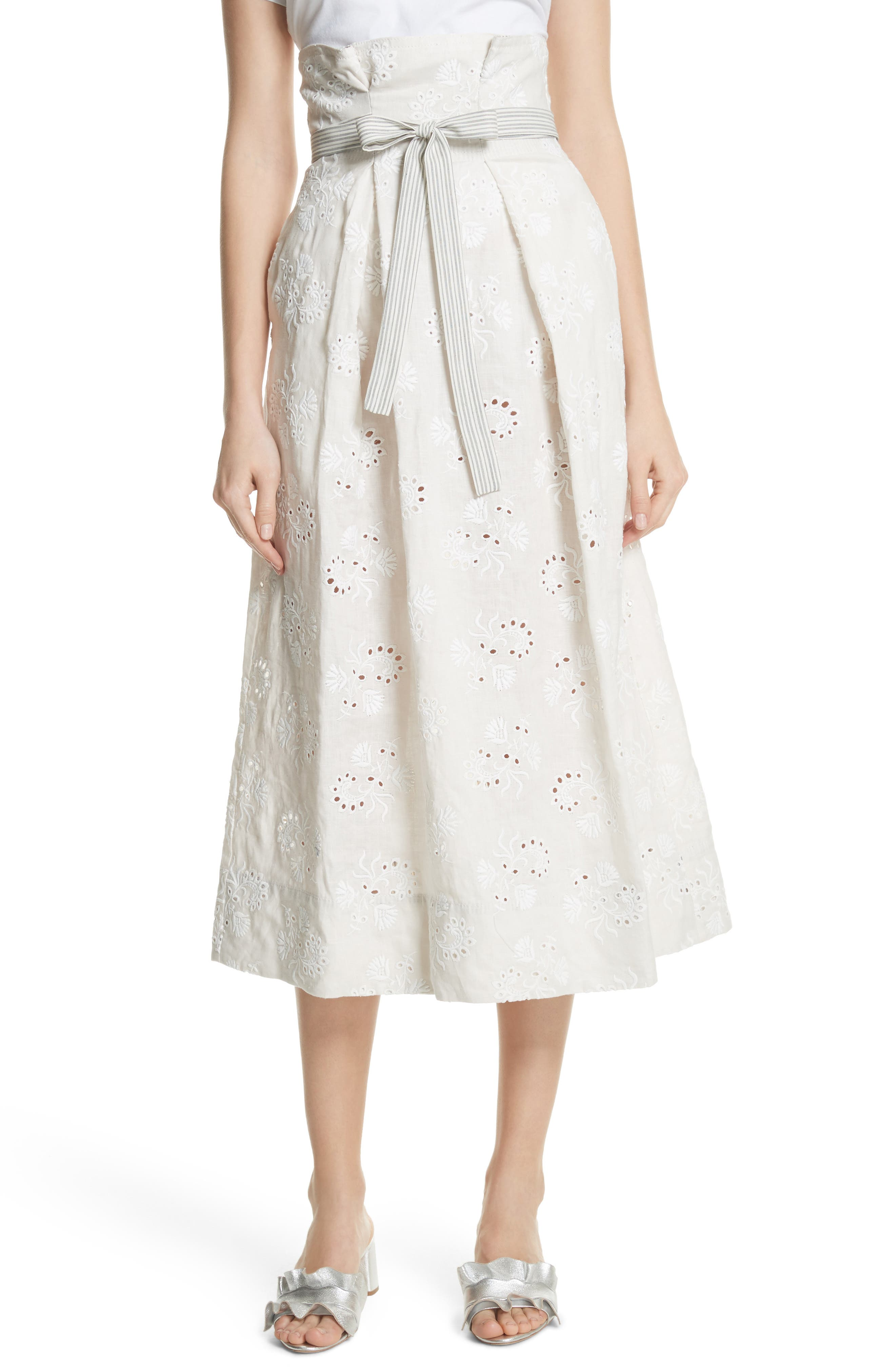 Rebecca Taylor Garden Eyelet Linen Skirt