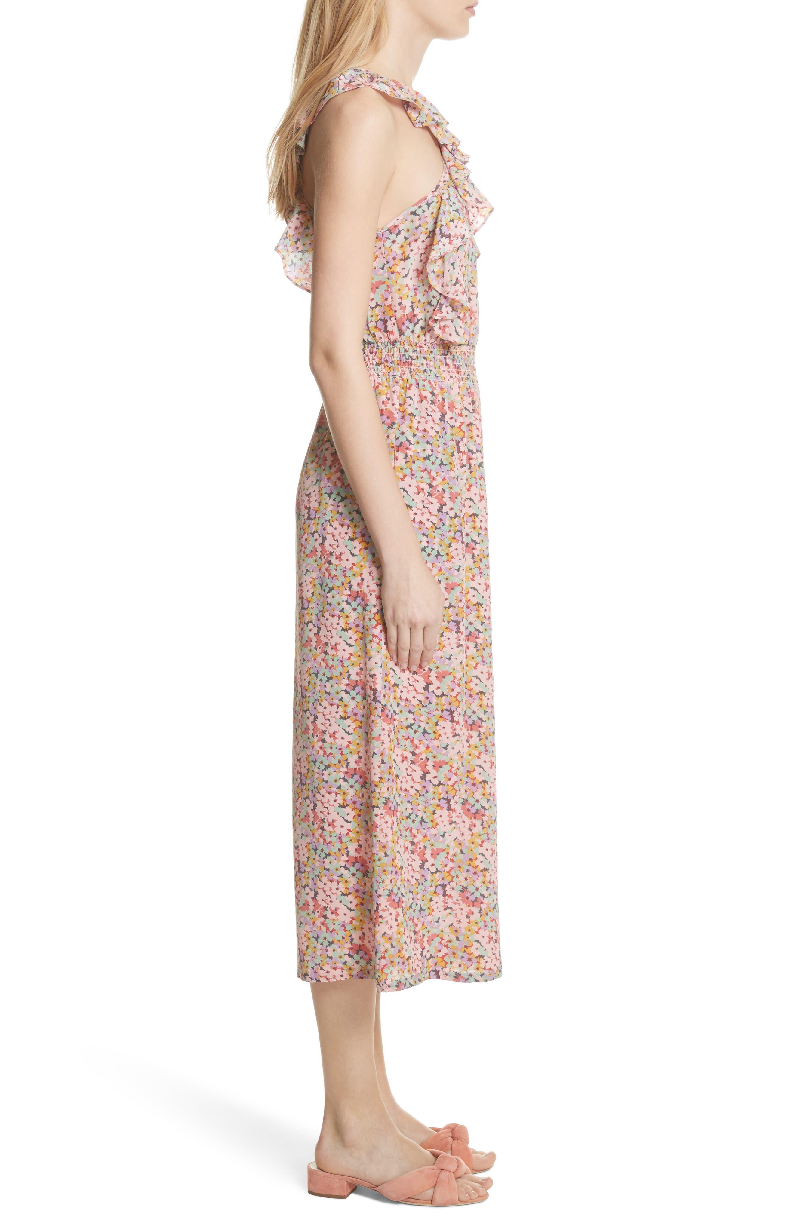 Margo Halter Top Floral Silk Jumpsuit,                             Alternate thumbnail 3, color,                             Multi Combo