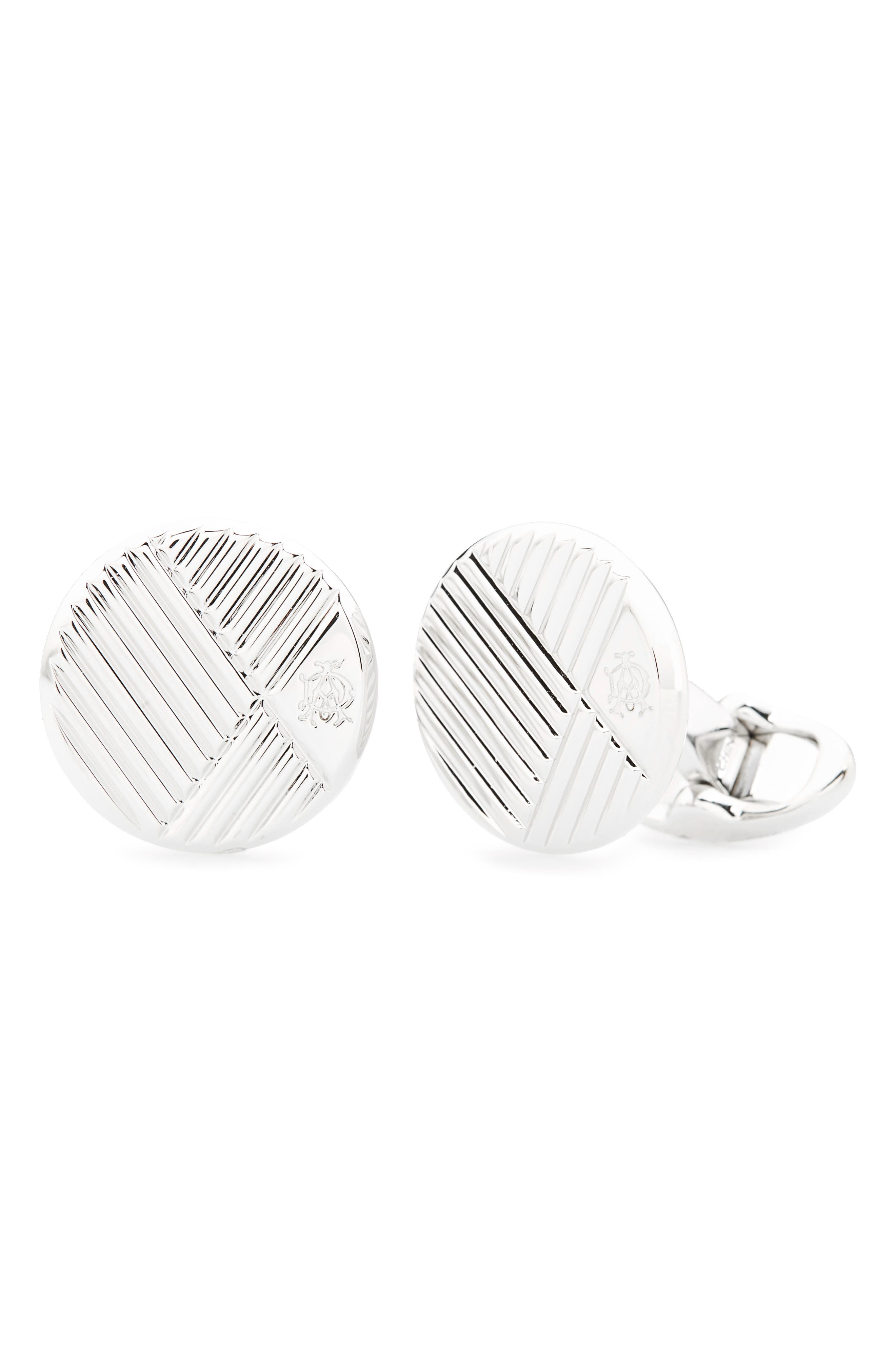 Round Diagonal Cuff Links,                         Main,                         color, Silver