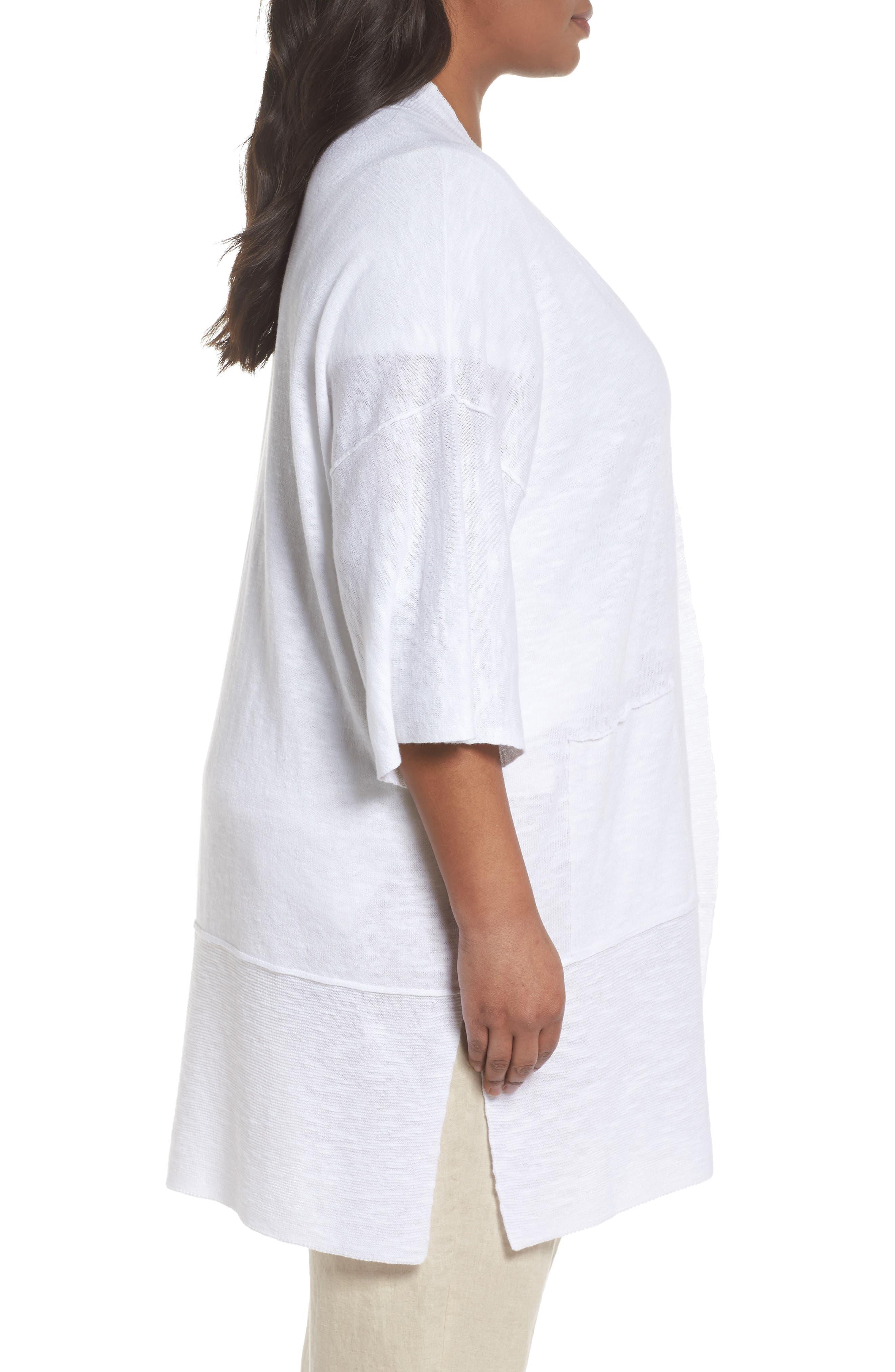 Organic Linen & Cotton Kimono Cardigan,                             Alternate thumbnail 3, color,                             White
