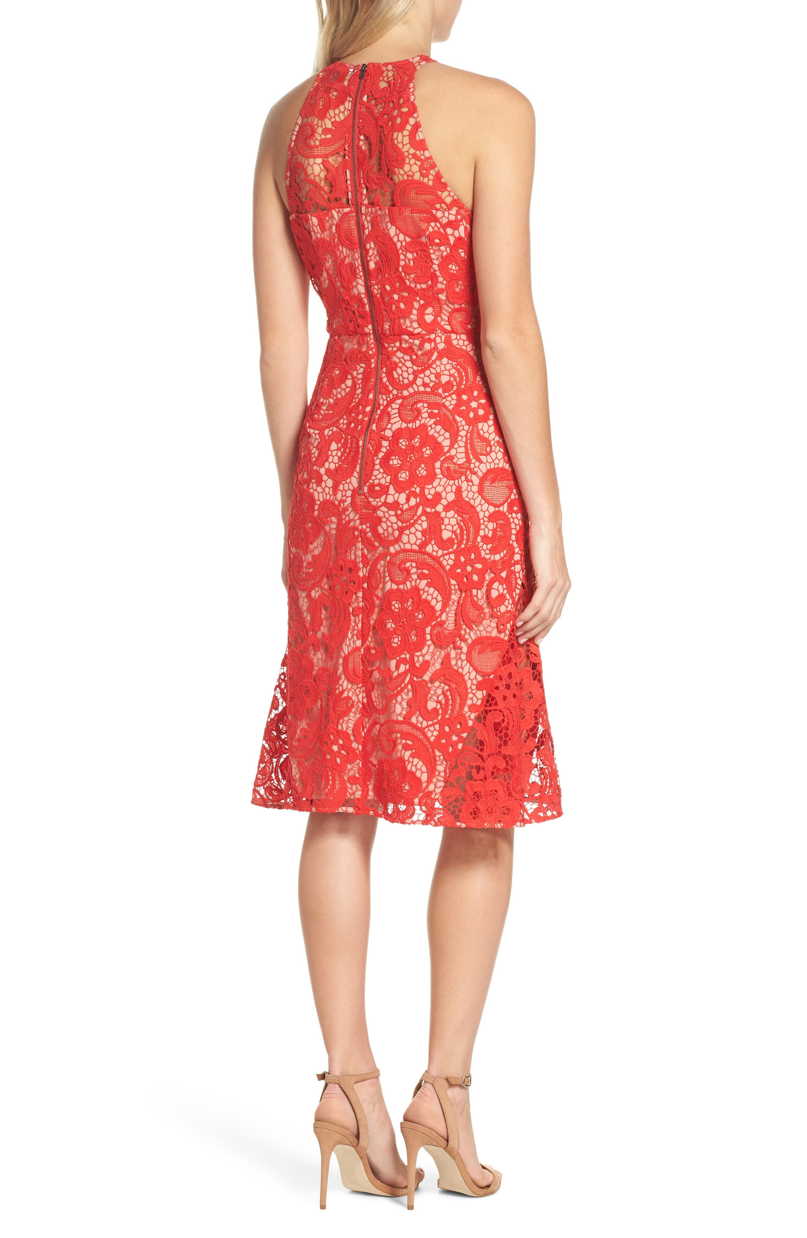 Carnation Lace Dress,                             Alternate thumbnail 2, color,                             Red Fiery